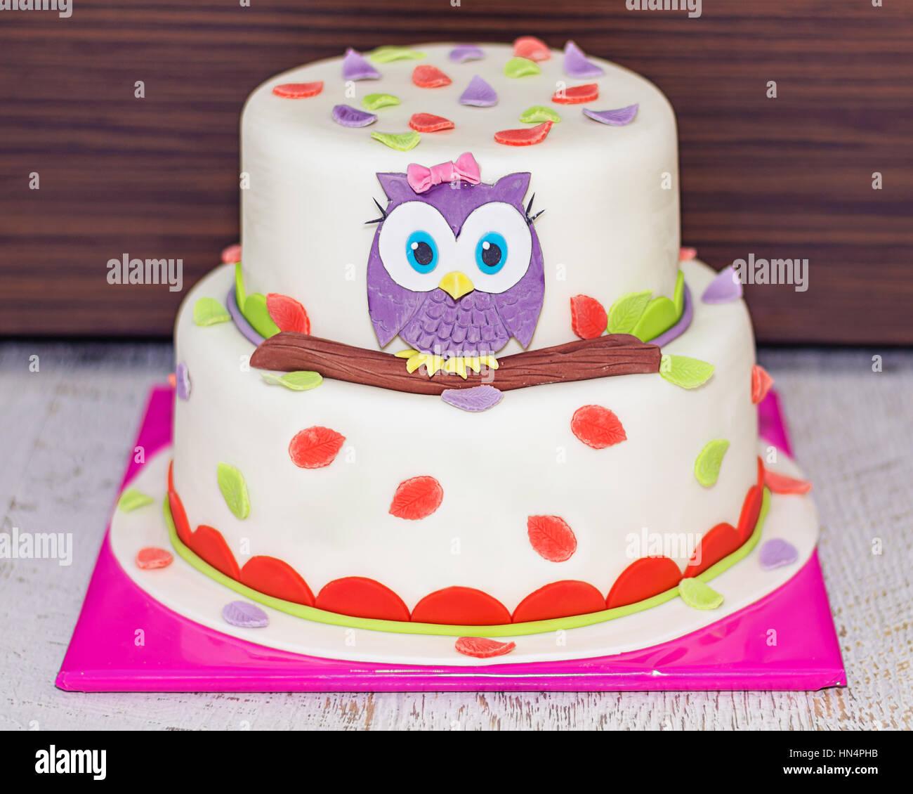 Schone Kuchen Wit Baby Eule Auf Einem Ast Stockfoto Bild 133485895