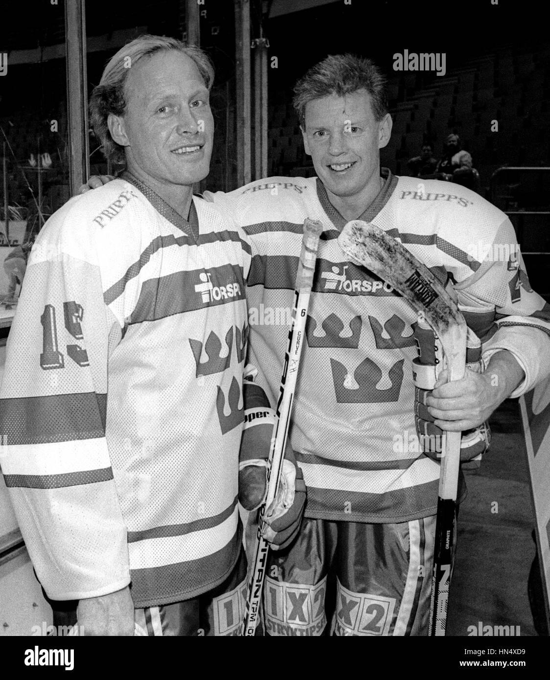 ANDERS HEDBERG und Ulf Nilsson schwedische Eis-Hockeyspieler in New York Ranger 1981 und der schwedischen Nationalmannschaft Stockbild