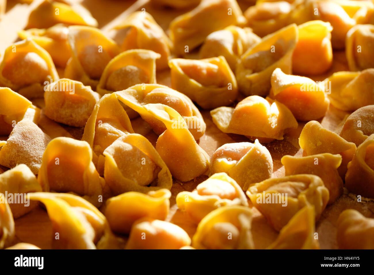 hausgemachte Tortellini, berühmte Pasta in Bologna, Italien Stockbild