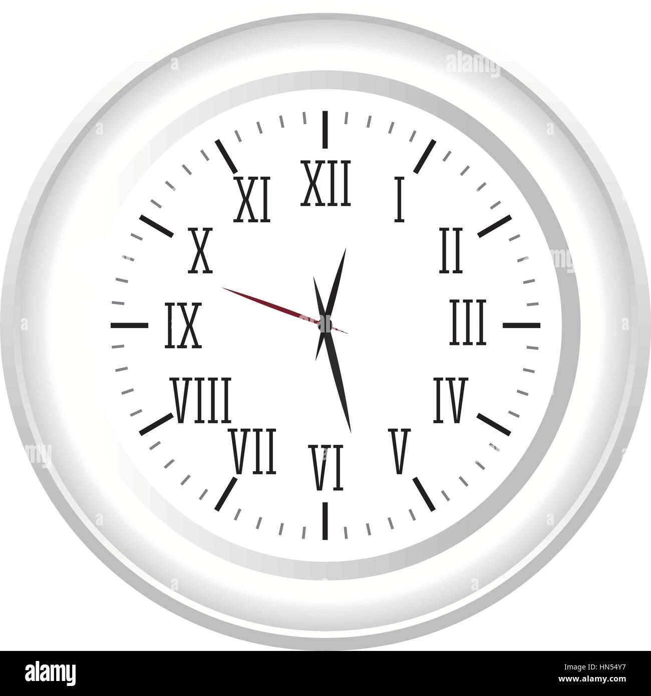 Römische Zahlen Wand Uhr Symbol Bild Vektor Illustration Design