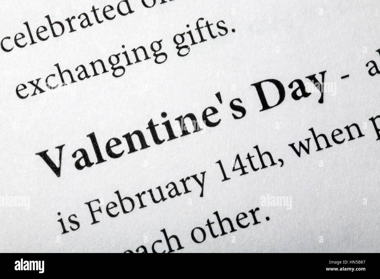 Valentinstag   Im Wörterbuch. Closeup. Makroaufnahme Stockbild