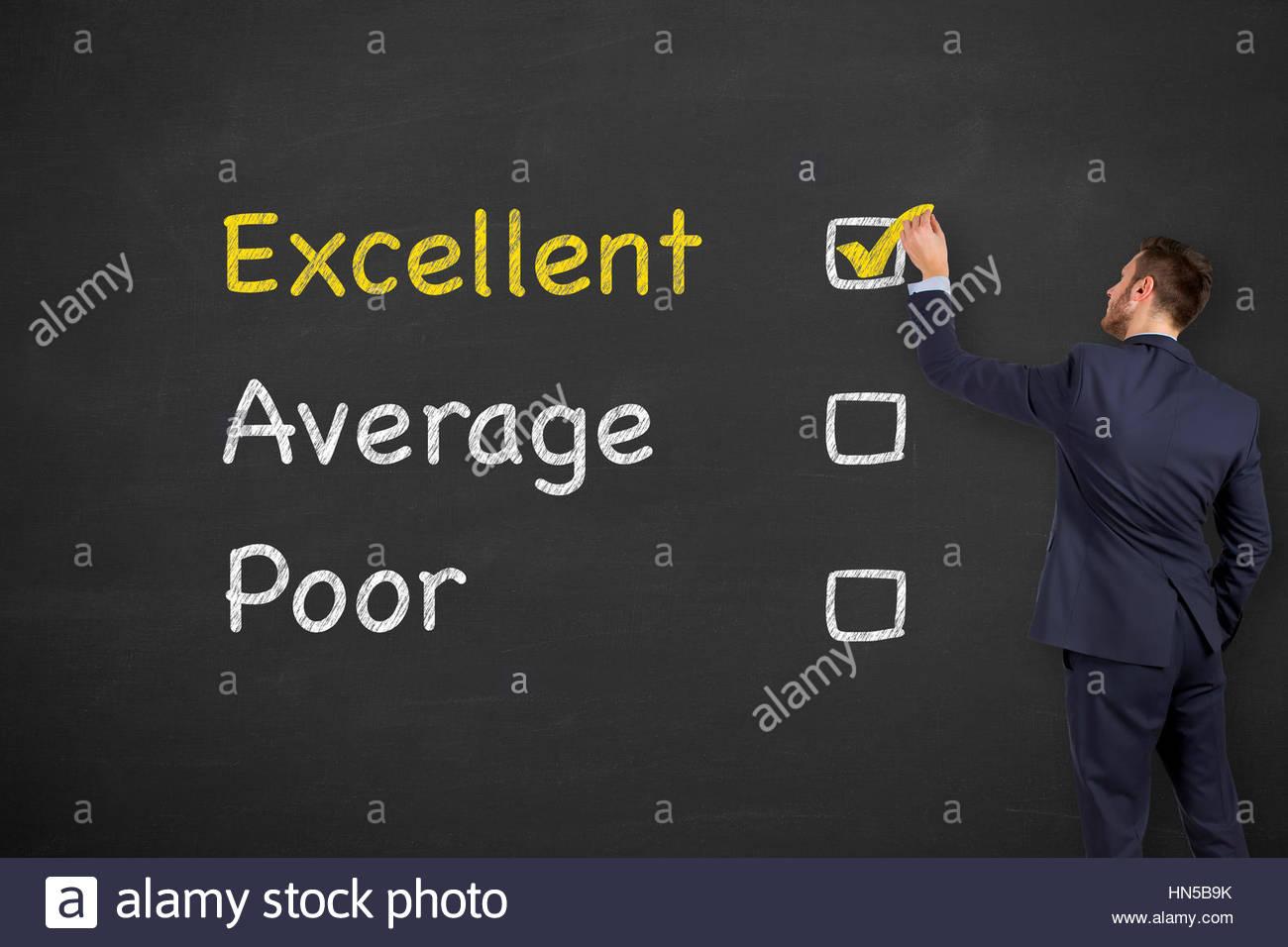Kunden-Zufriedenheit-Konzepte an Tafel Stockbild