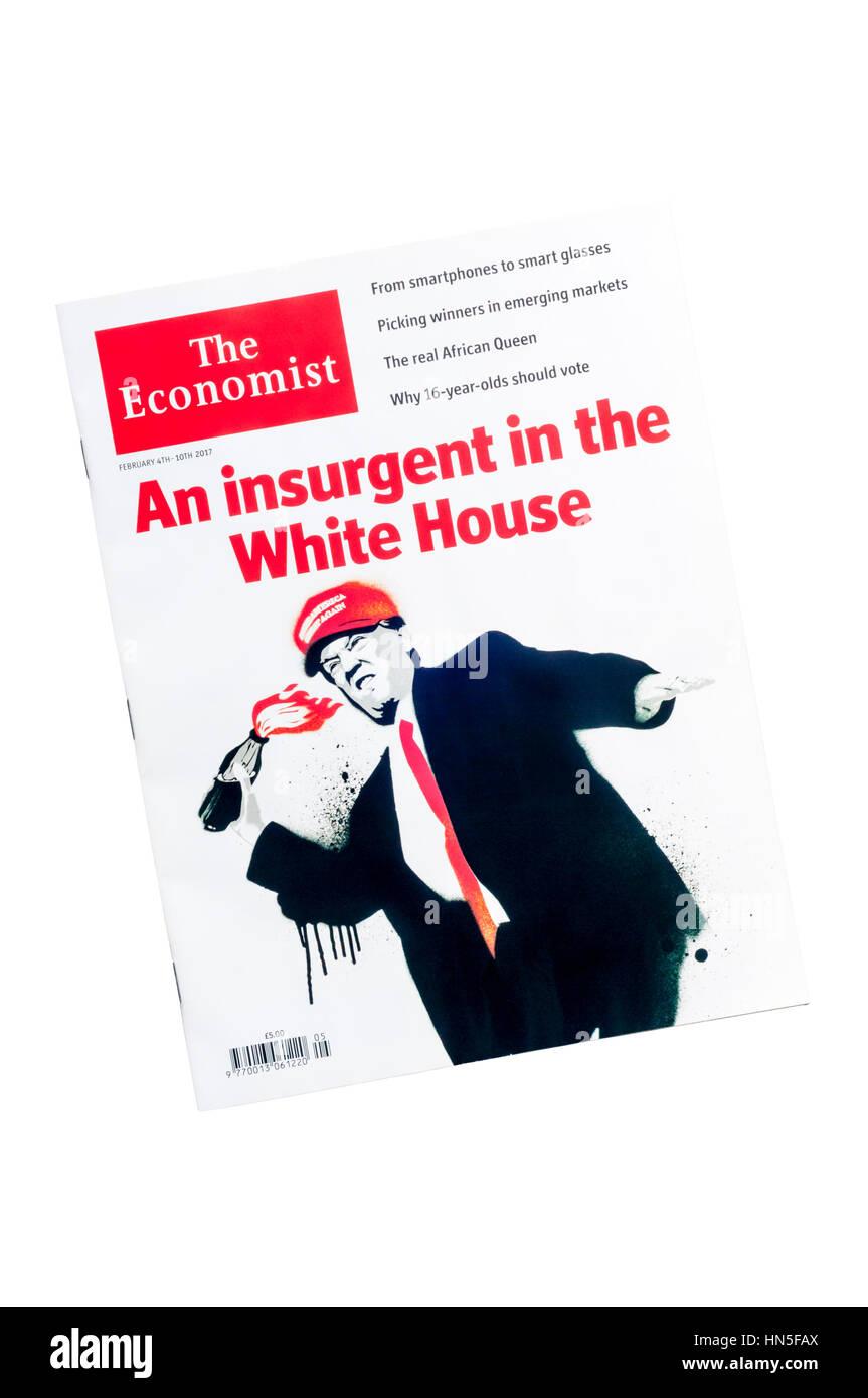 Eine Karikatur von Donald Trump auf dem Cover der Februar 2017 ...