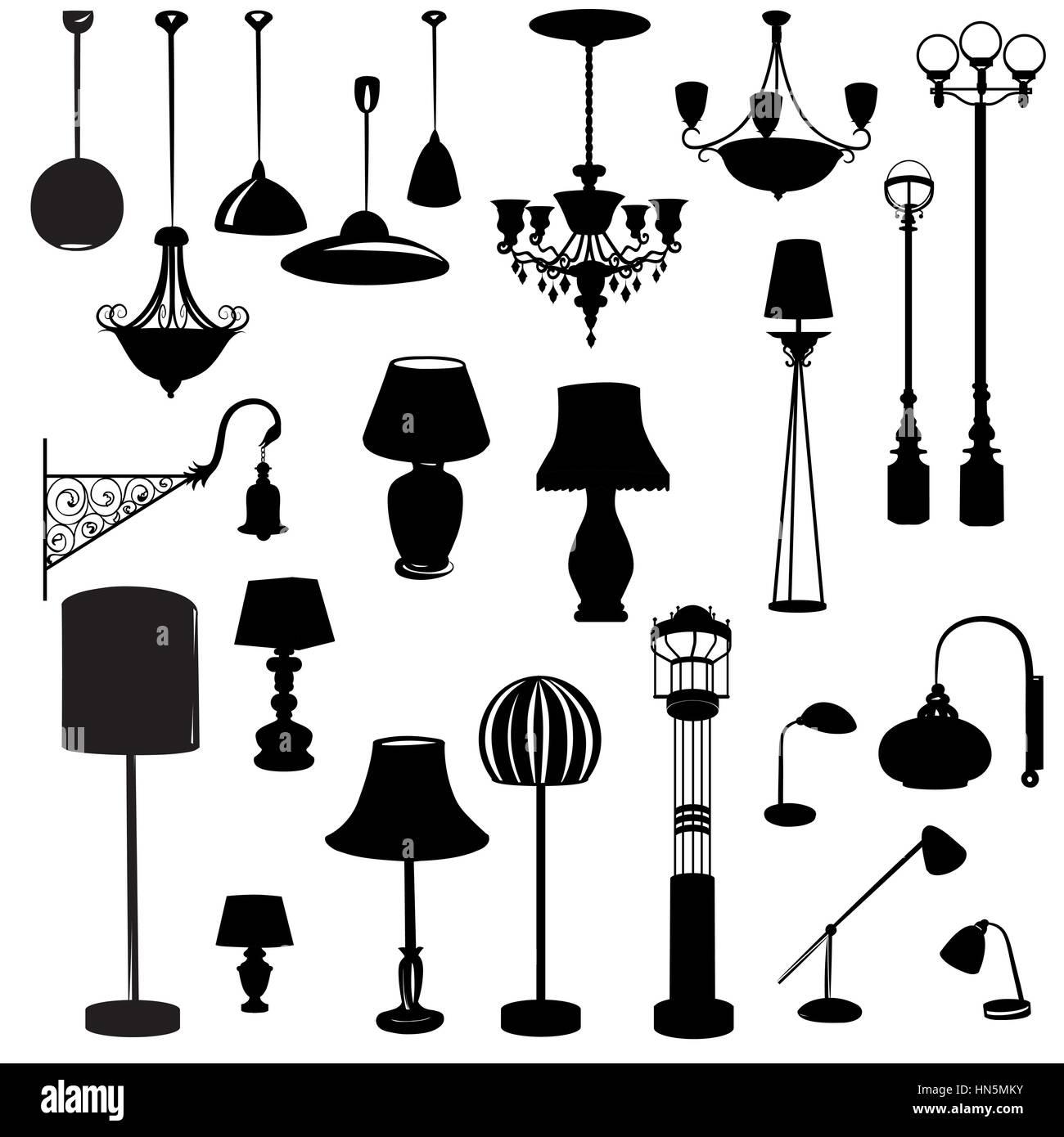 Inneneinrichtung Symbole. deckenleuchte Icon Set. silhouette Decke ...