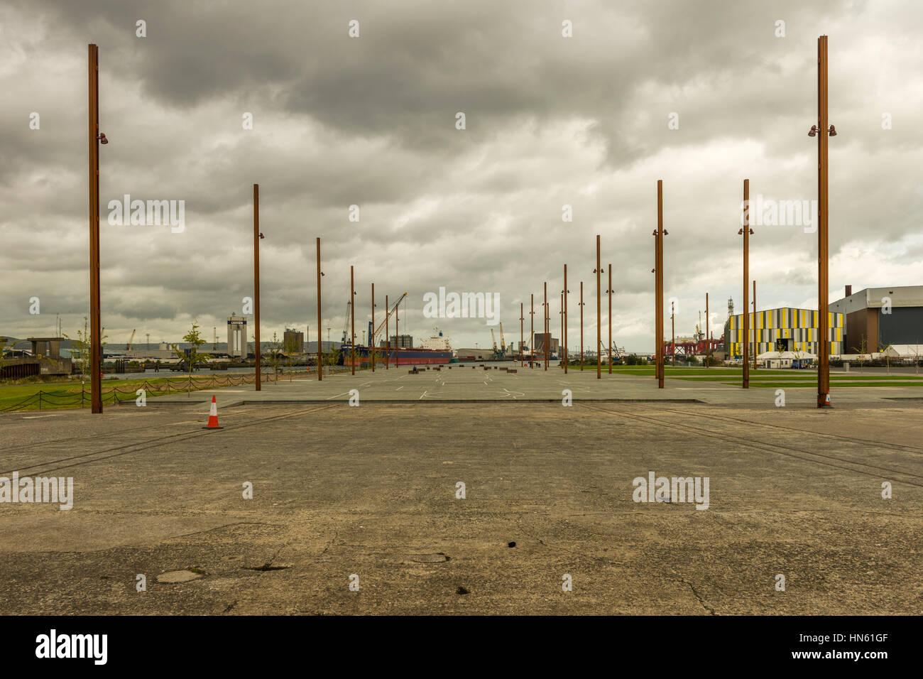 RMS Titanic entstand am Slip Nummer 3 der ehemaligen Harland & Wolff Schiffbauer, Titanic Quarter, Belfast, Stockbild