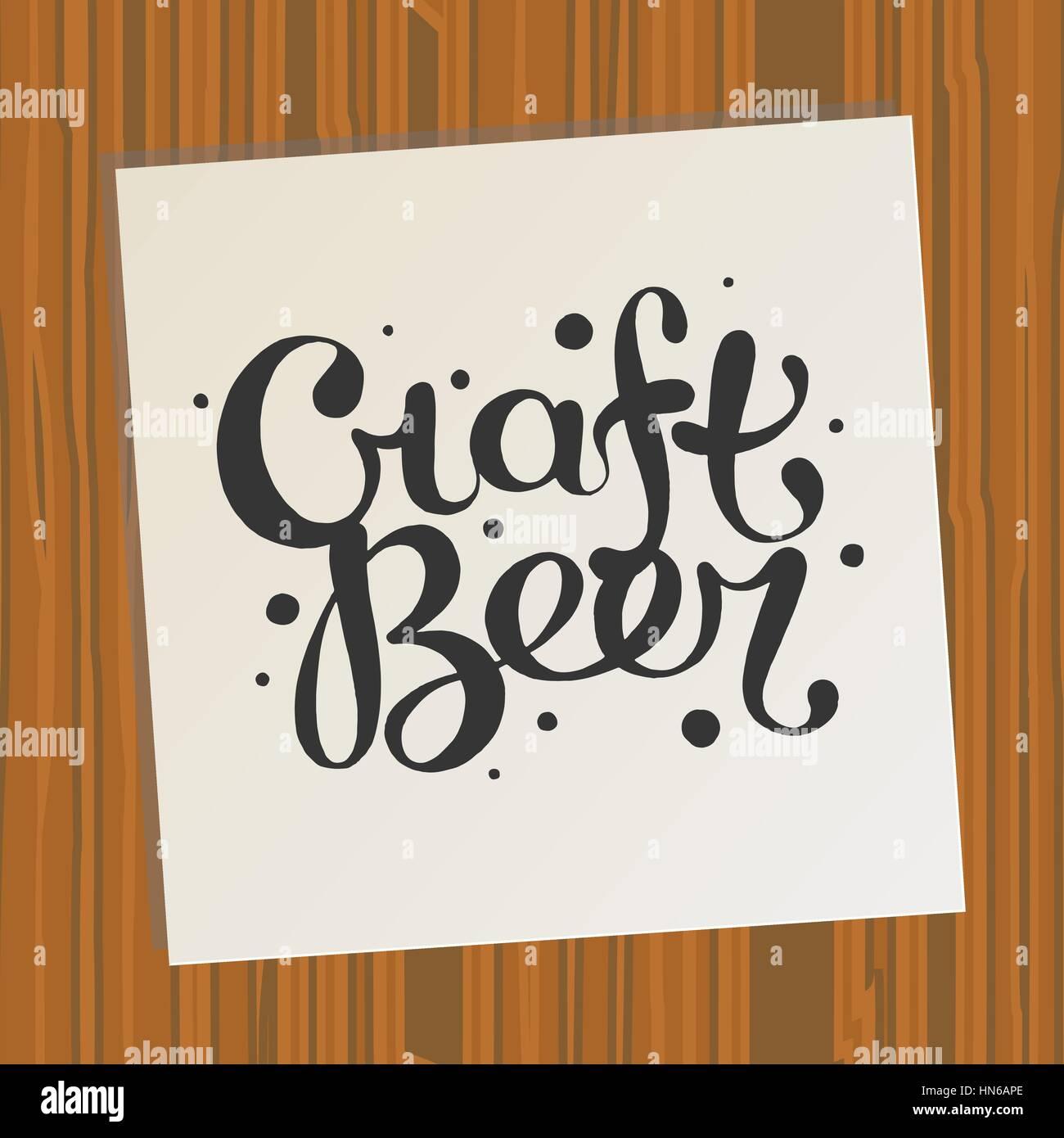 Die Hand gezeichnete handgemachte Monochrom Schriftzug Bier ...
