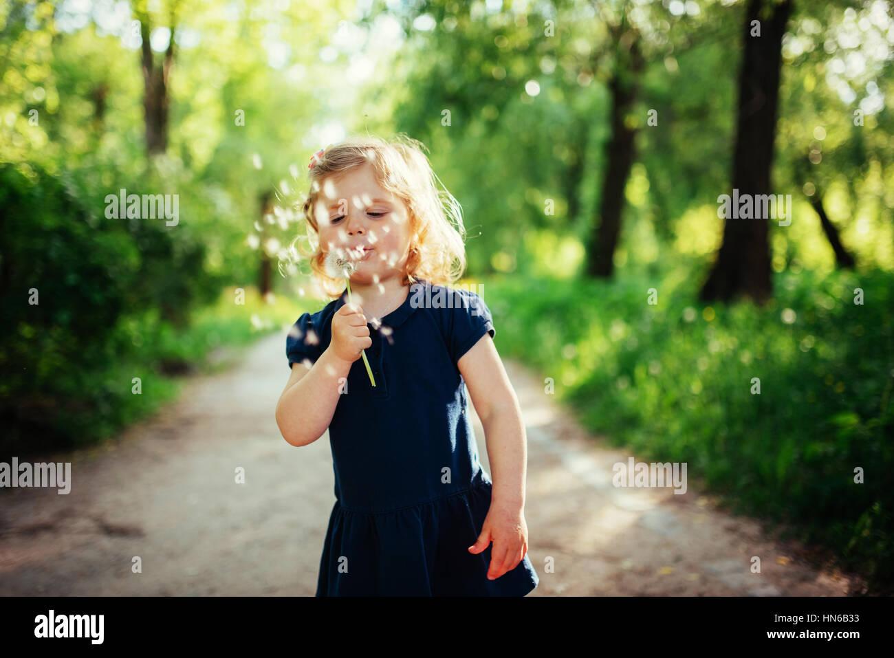Kind mit Löwenzahn Stockbild