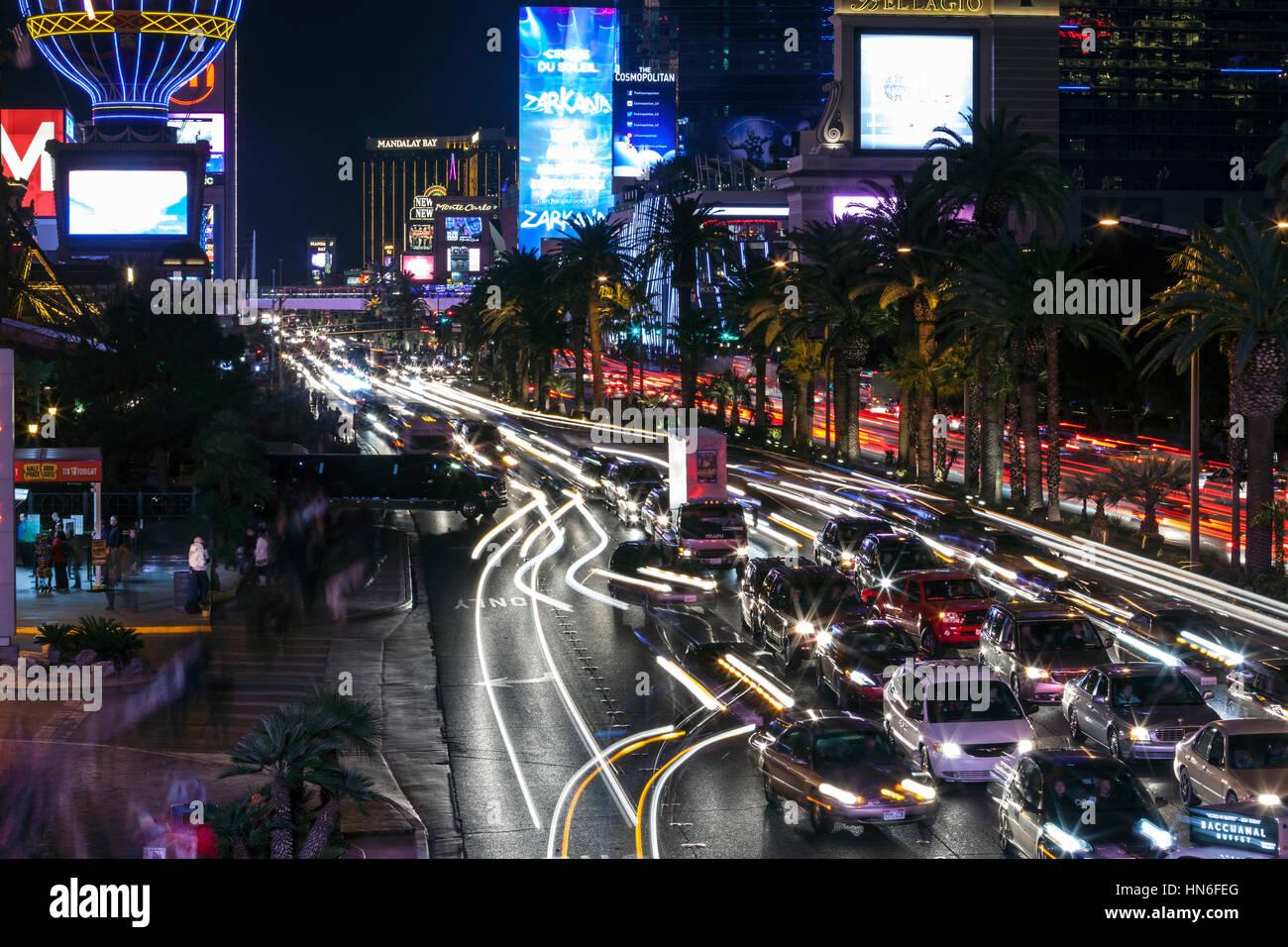 Editorial Blick auf schweren Reiseverkehr am Las Vegas Strip. Stockbild
