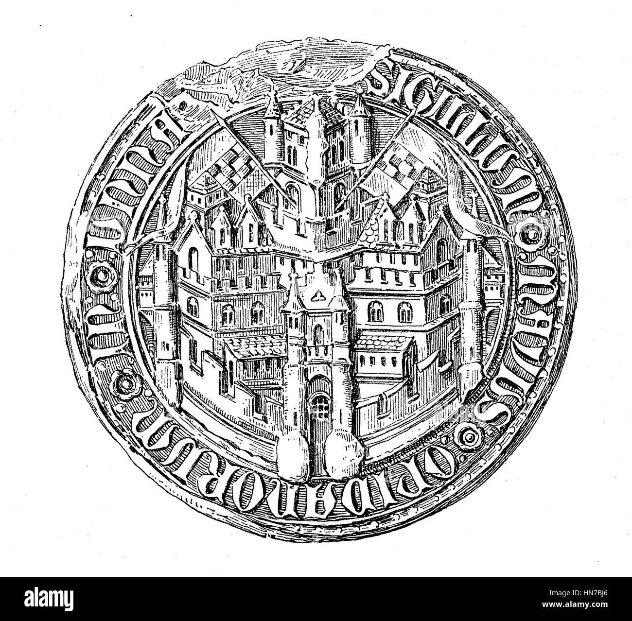 Mittelalterliche Stadt Siegel aus dem 13. bis 15. Jahrhundert hier Unna, Deutschland, Mittelalterliches Stadtsiegel Stockbild