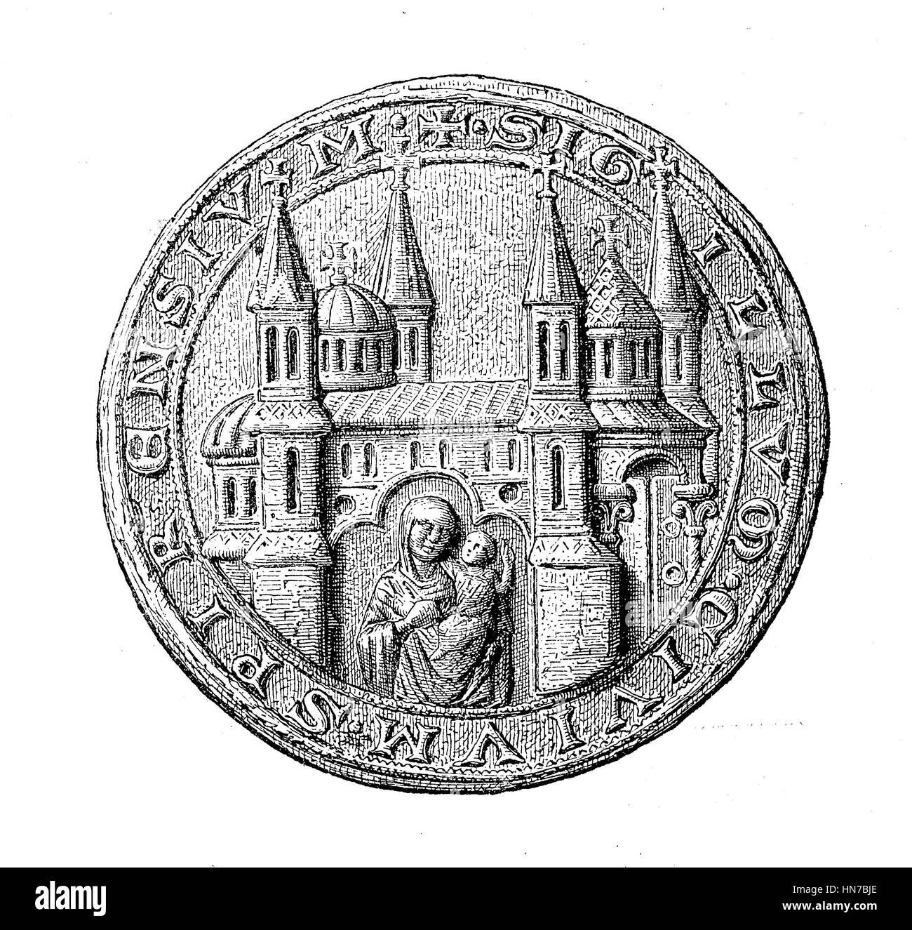 Mittelalterliche Stadt Siegel aus dem 13. bis 15. Jahrhundert hier Speyer, Deutschland, Mittelalterliches Stadtsiegel Stockbild