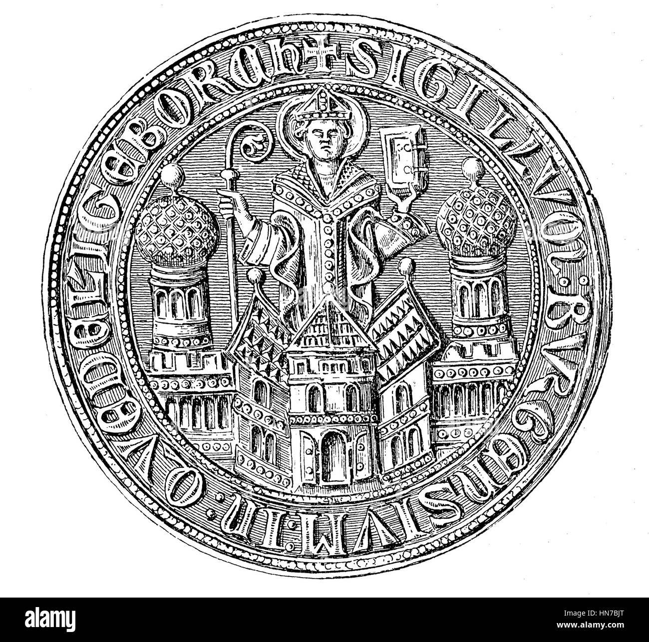 Mittelalterliche Stadt Siegel aus dem 13. bis 15. Jahrhundert hier Quedlinburg, Deutschland, Mittelalterliches Stadtsiegel Stockbild