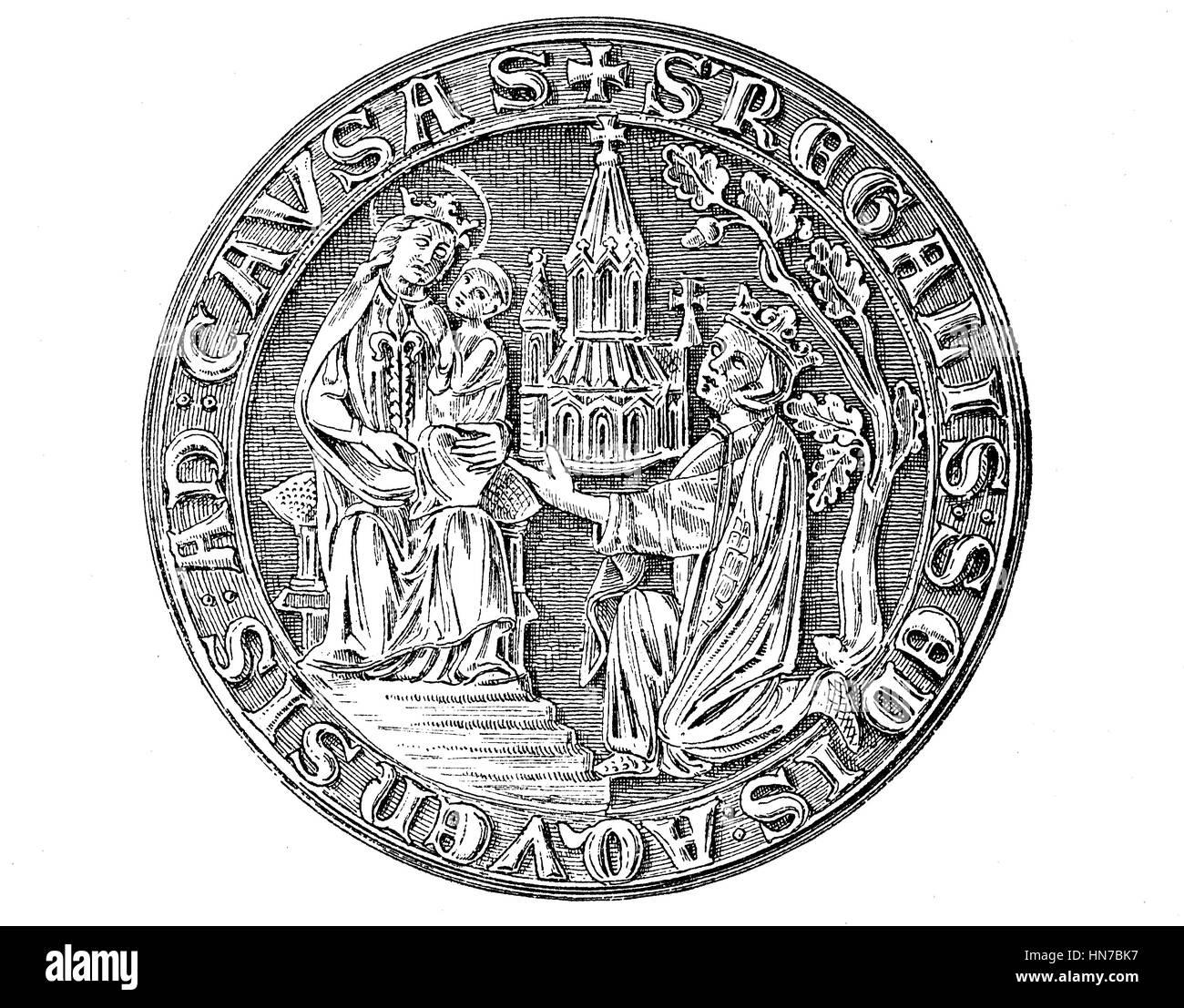 Mittelalterliche Stadt Siegel aus dem 13. bis 15. Jahrhundert hier Aachen, Deutschland, Mittelalterliches Stadtsiegel Stockbild