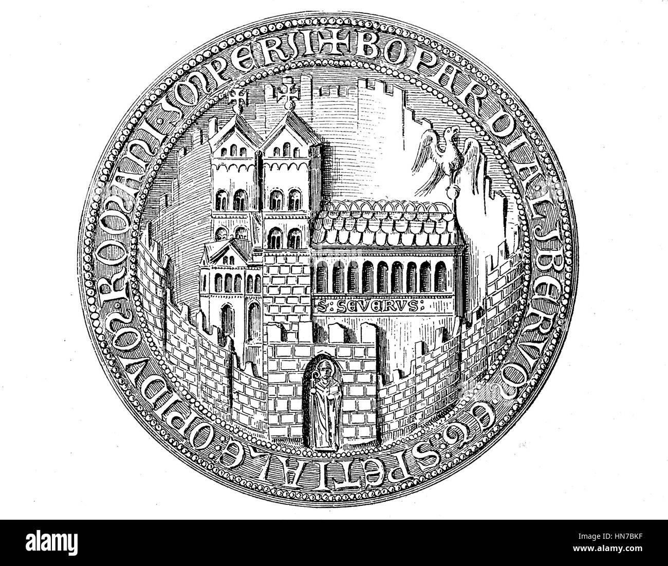 Mittelalterliche Dichtung vom 13. bis 15. Jahrhunderts, hier Boppard, Deutschland, mittelalterliches Stadtsiegel Stockbild