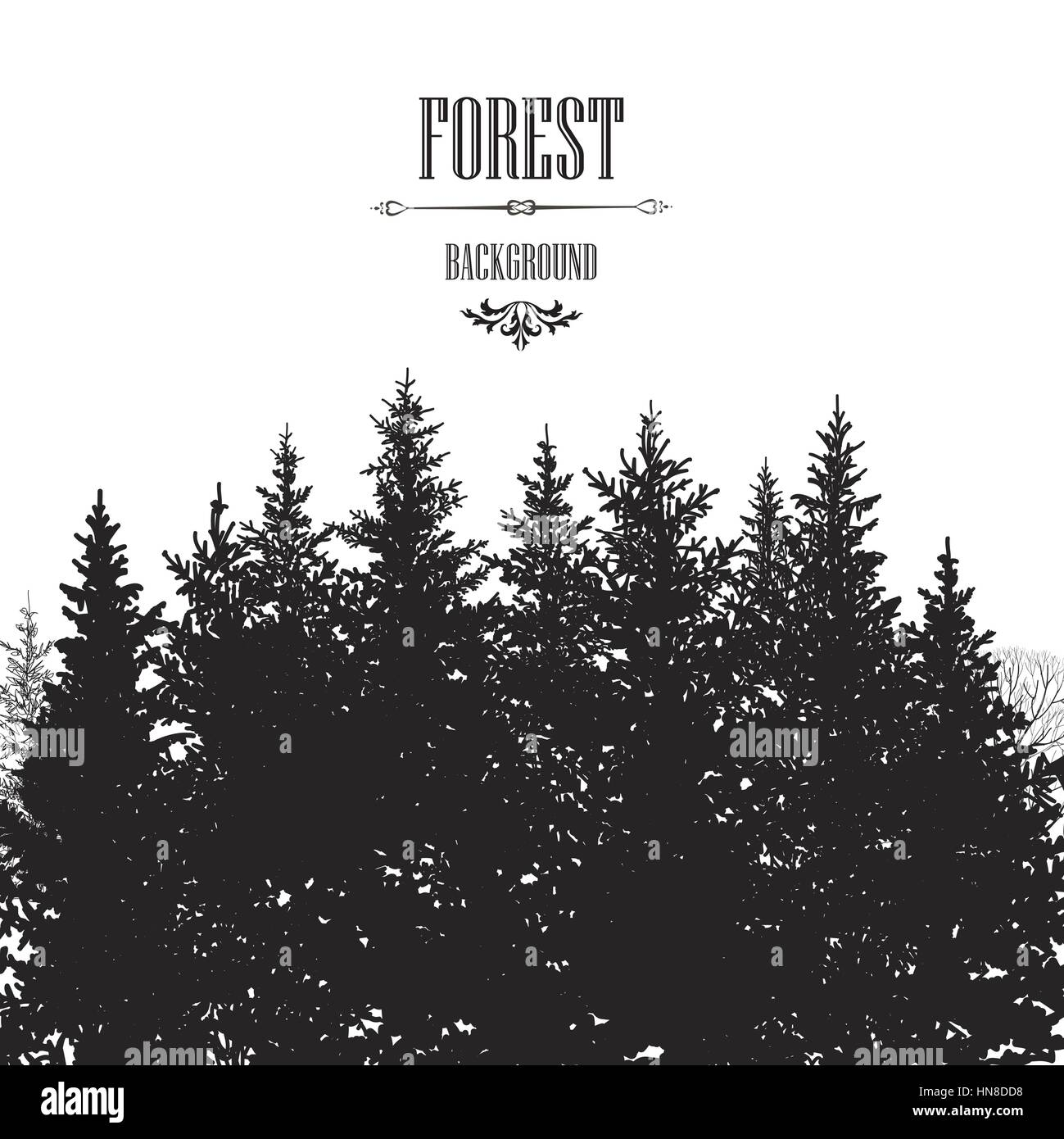 Weihnachten Tanne Baum Grenze. Verschneiten Wald Hintergrund Baum ...