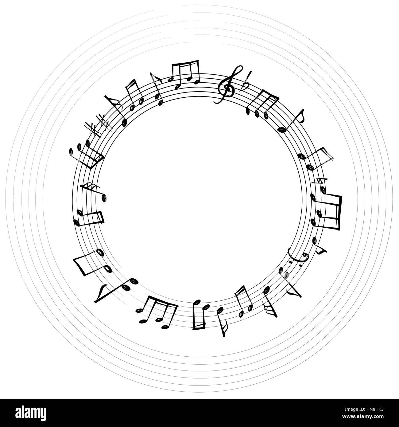 Noten Grenze. musikalischen Hintergrund. Musik, Stil, runde Form ...