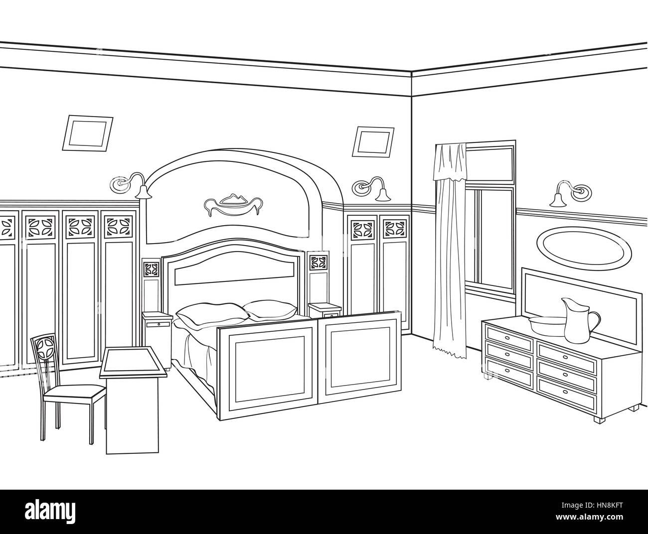 Schlafzimmer möbel. editable Vector Illustration von schematischen ...