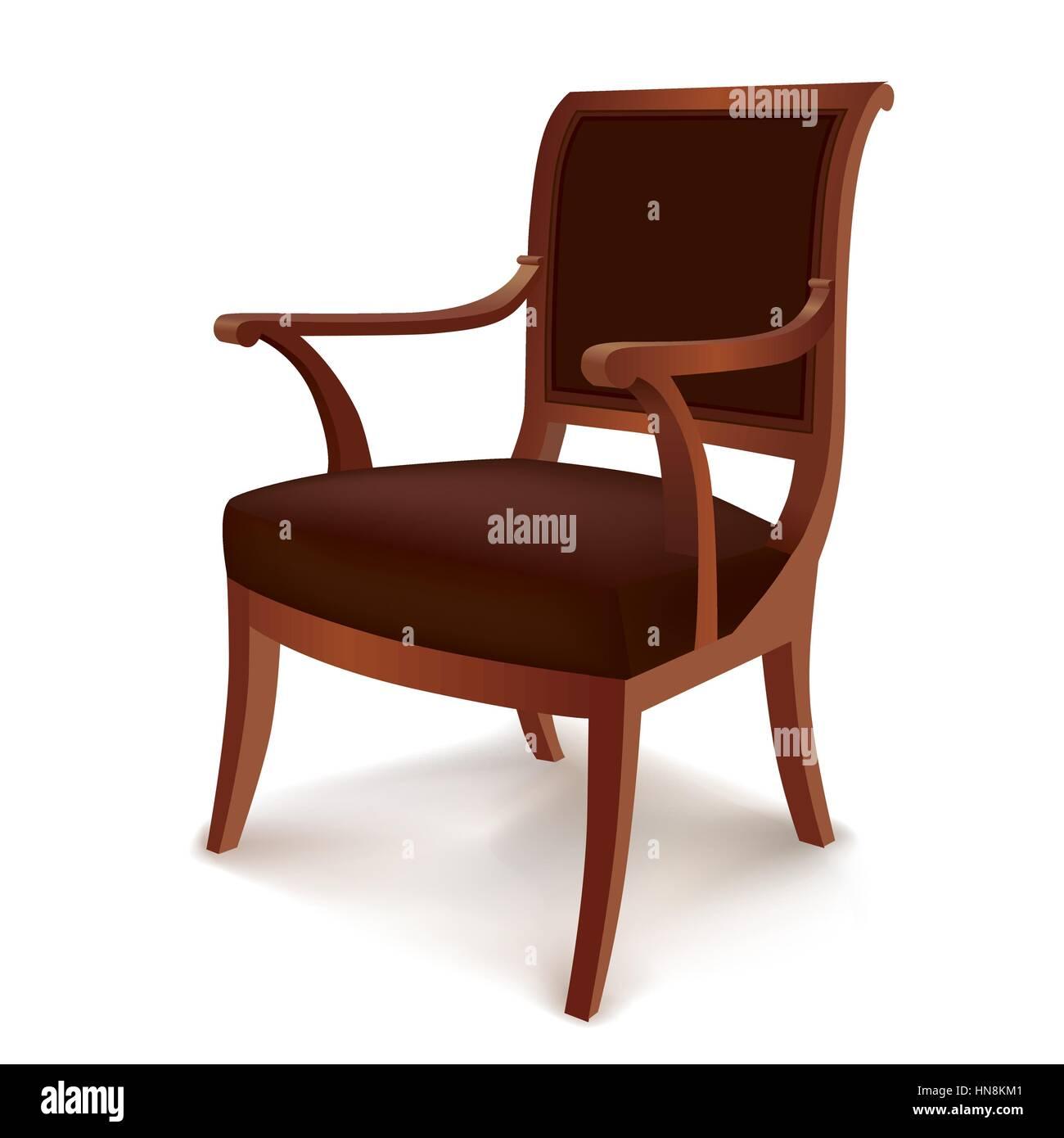 Sessel Vintage Stuhl Im Retro Stil Auf Weißem Hintergrund Vektor