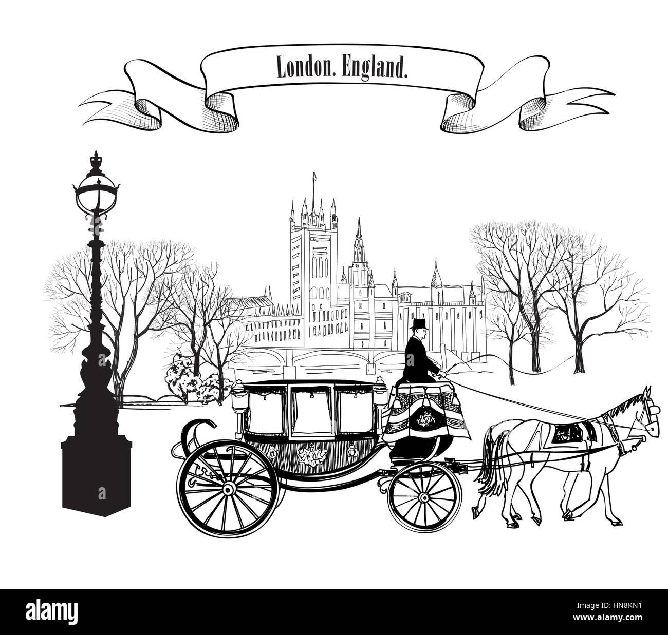 Alte Straße Gasse mit Gebäuden, Bäumen, Park Street Lamp und Kutsche mit Pferd. London City. England, UK. Stock Vektor
