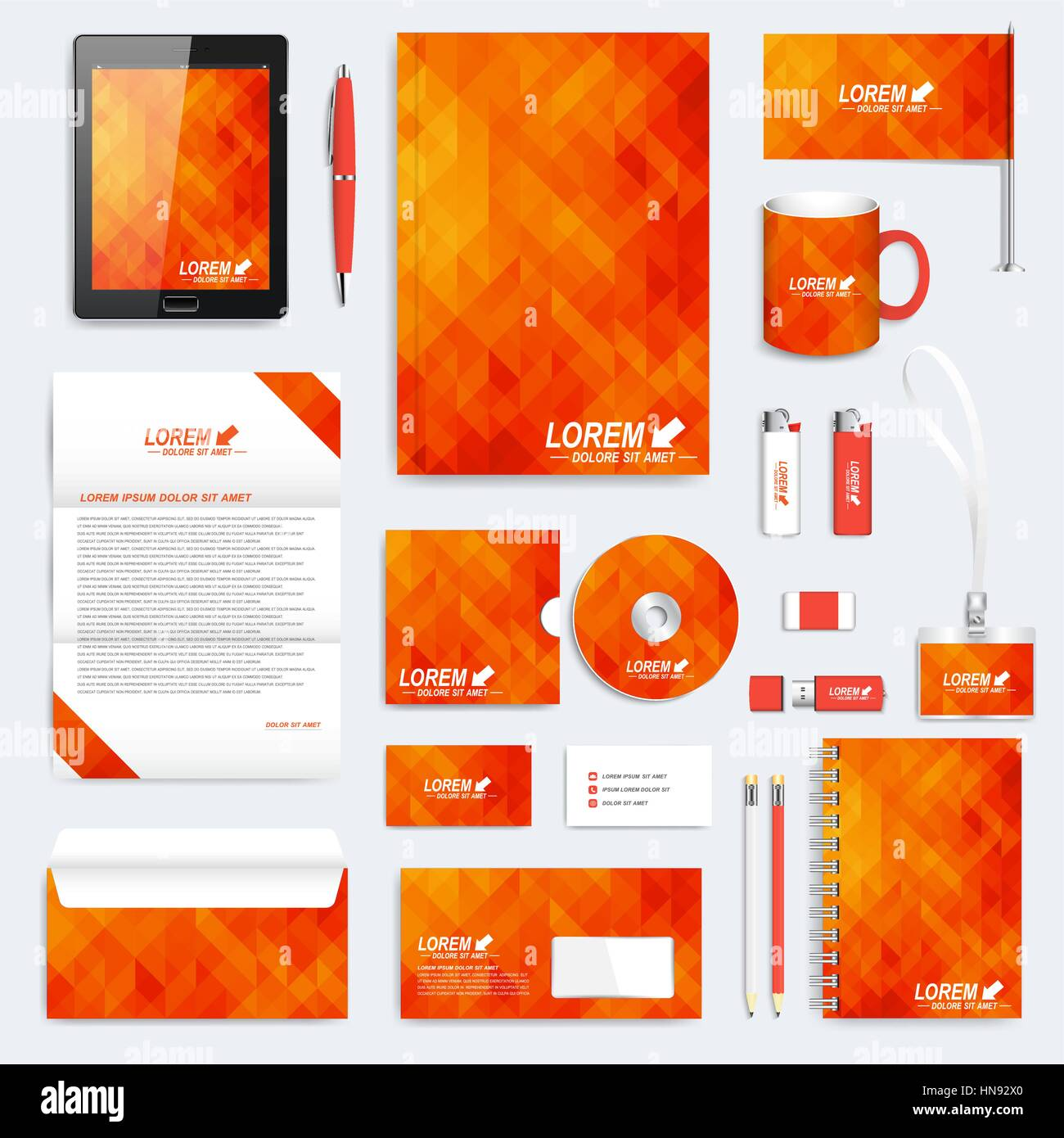 Orange Gruppe von Vektor-corporate Identity-Vorlage. Moderne ...