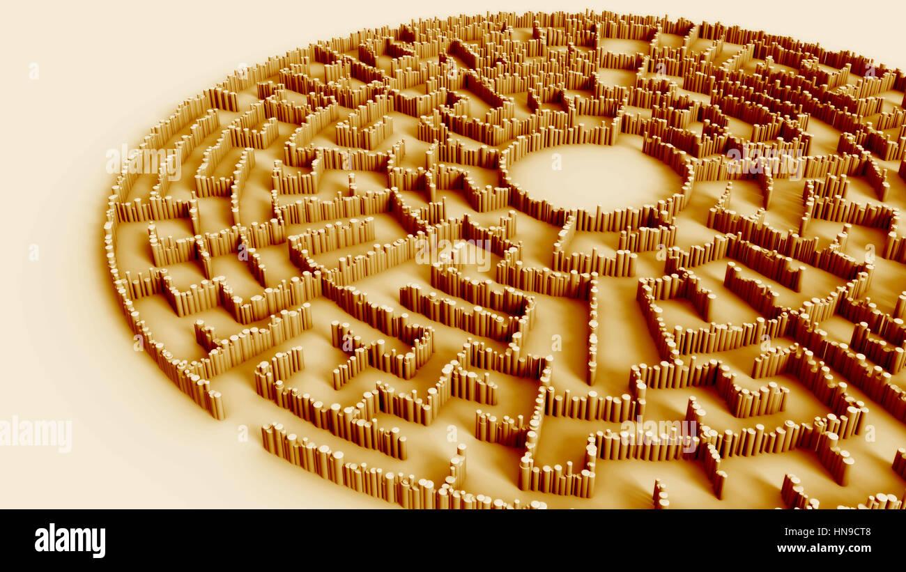 Vintage kreisförmige Labyrinth-Konstruktion aus Tausenden von zylindrischen Säulen (3d Illustration) Stockbild