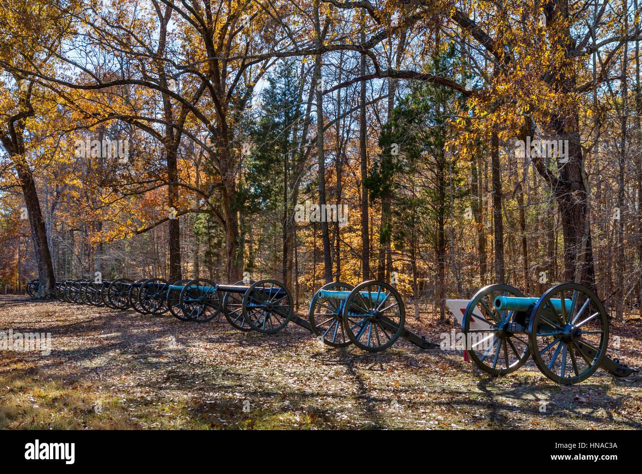 Shiloh National Military Park, Tennessee, USA. Ruggles Batterie, eine Armee der Konföderierten Einlagerung Stockbild