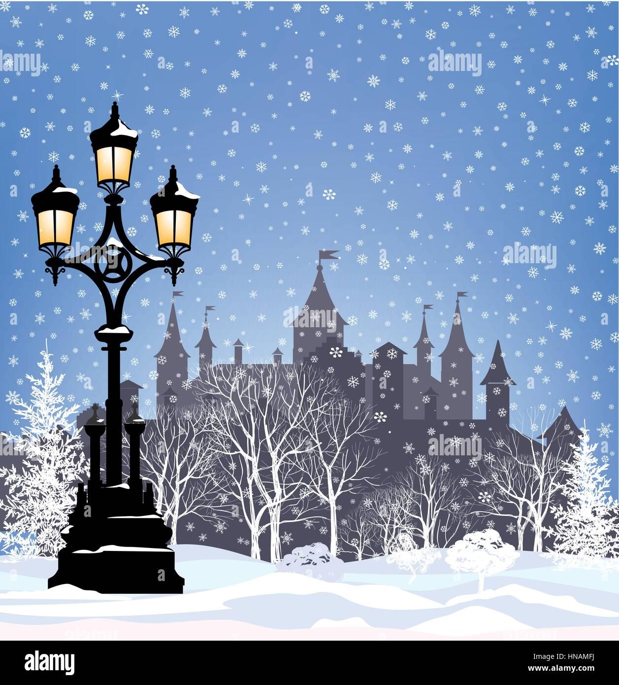 Winterurlaub schnee stadt Hintergrund. frohe Weihnachten Grußkarte ...