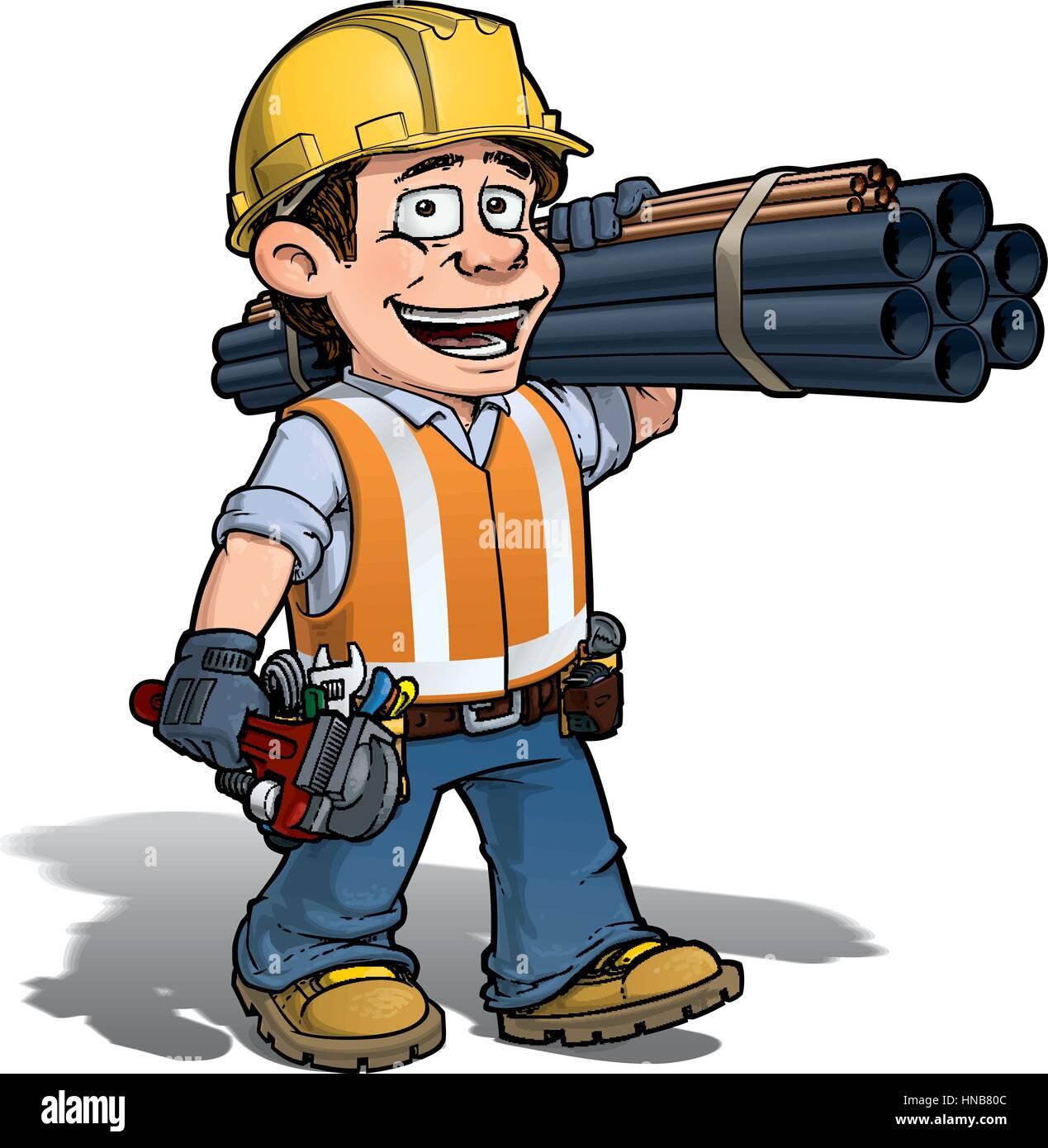 Comic Illustration Eines Bauarbeiters Klempner Mit Rohren Und