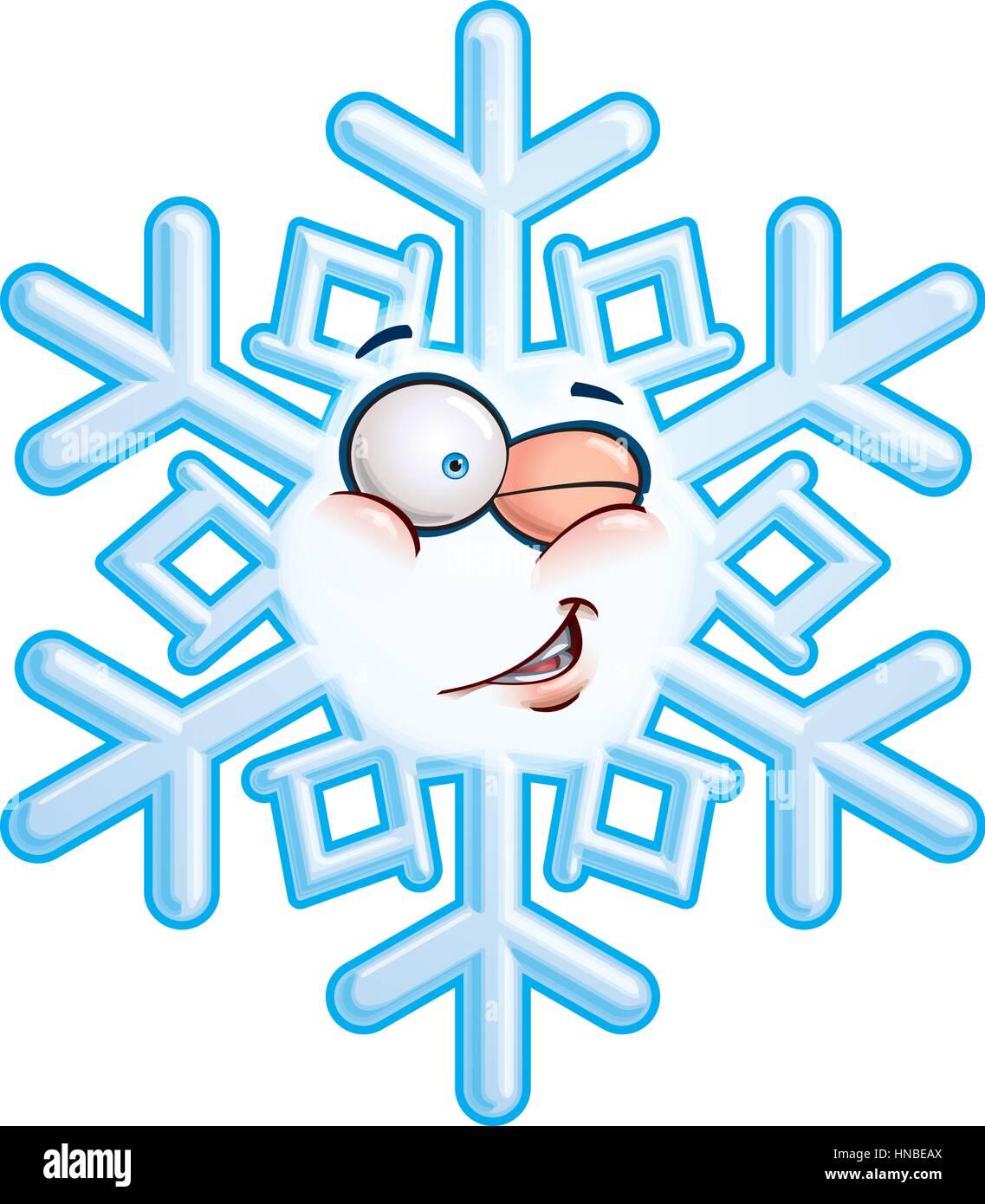 Cartoon Illustration einer Schneeflocke Emoticon Lächeln ...