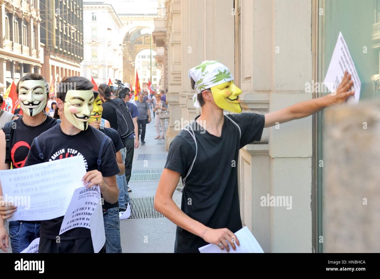 anonyme Demonstrant bei gegen Sparmaßnahmen Demonstration Stockbild