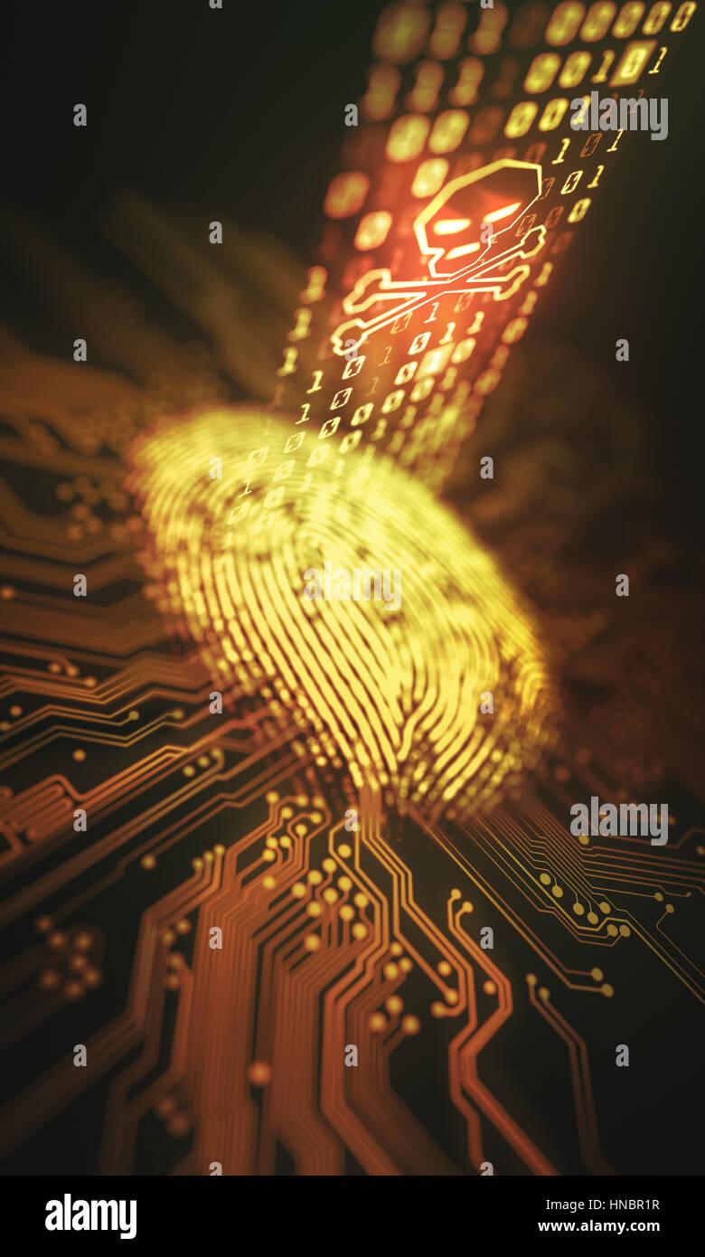 3D Illustration. Sicherheitsverletzungen und Zugang zu personenbezogenen Daten durch den Fingerabdruck. Stockbild