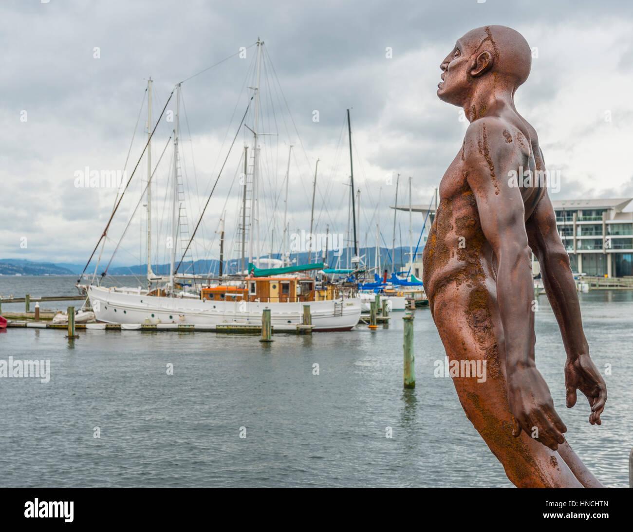 Statue, Trost von Wind, Hafen von Wellington, Nordinsel, Neuseeland Stockbild