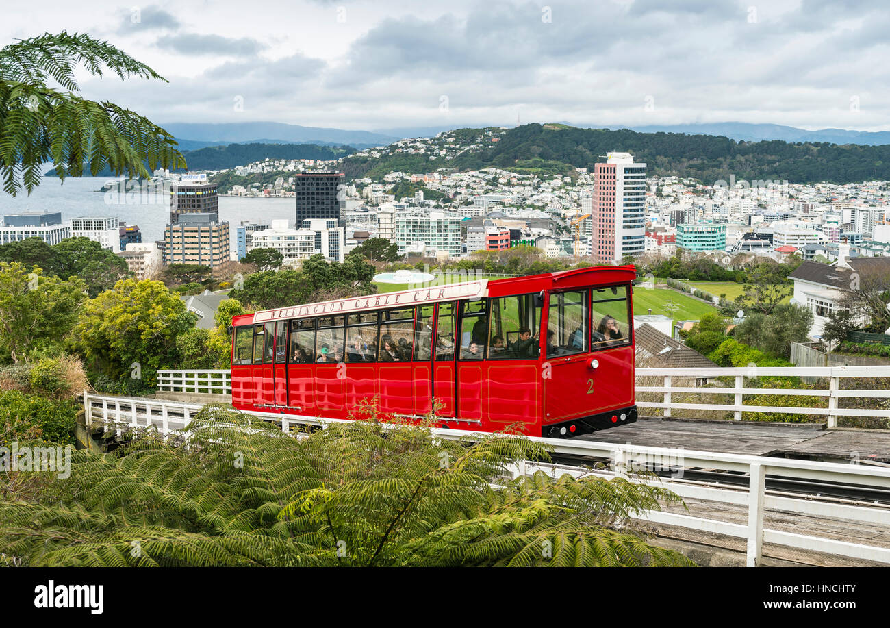 Historische Zahnradbahn, Wellington Cable Car, Region Wellington, Nordinsel, Neuseeland Stockbild