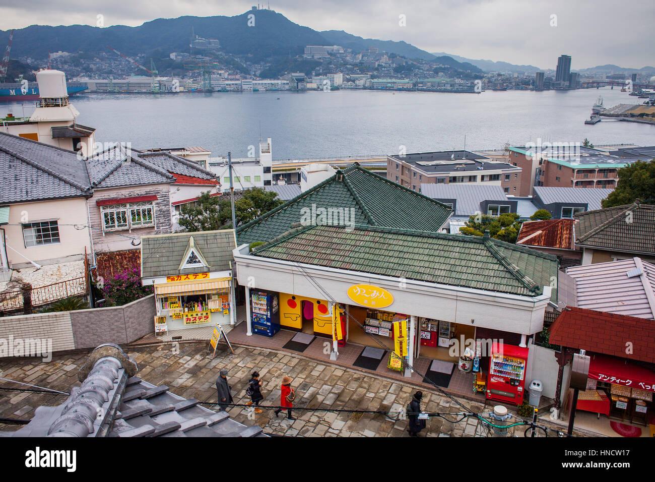 Landschaft, Panorama, Stadtbild, Ansichten von Glover Garten, Nagasaki, Japan Stockbild