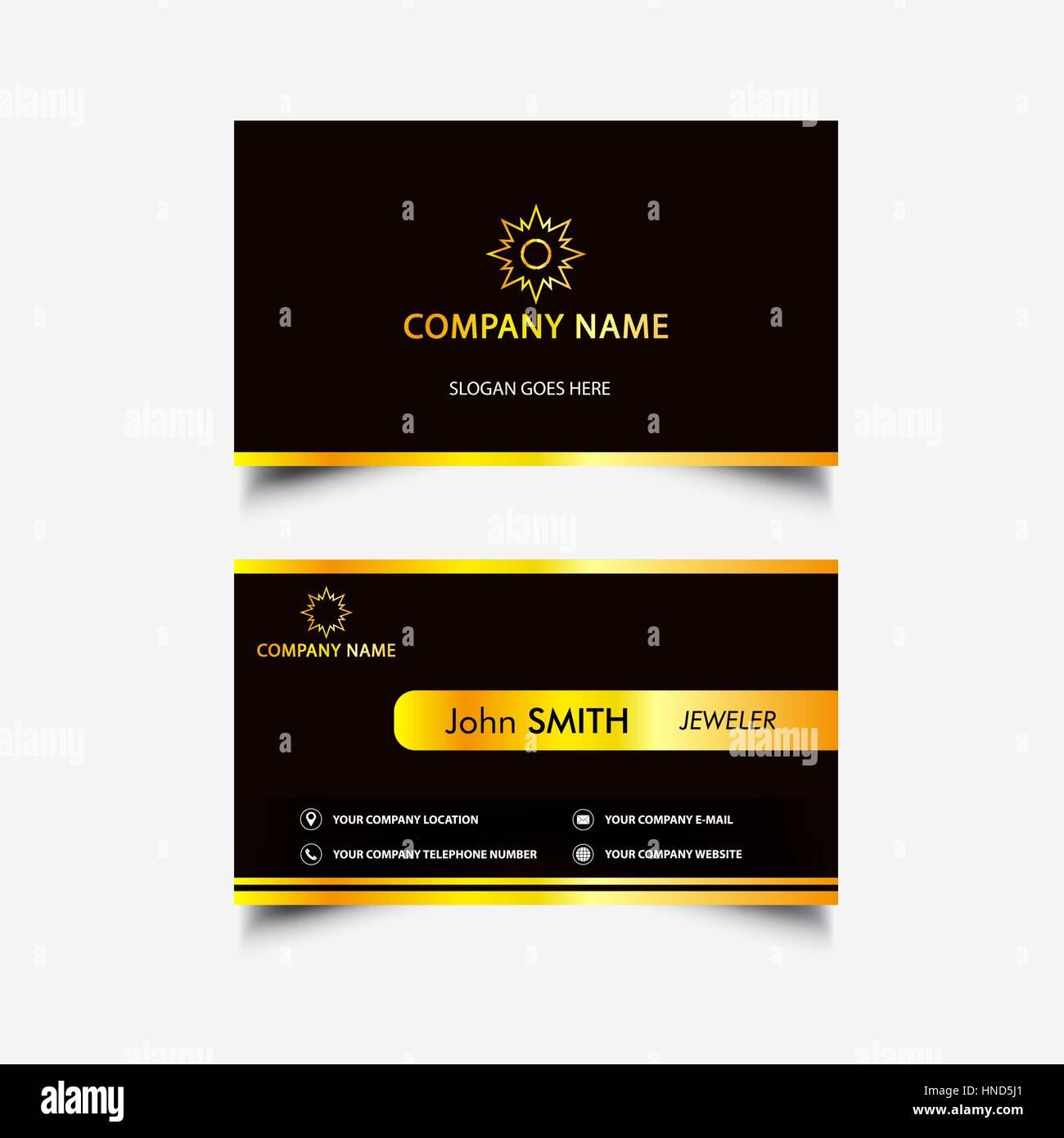 Golden Luxus-Visitenkarte Stockbild