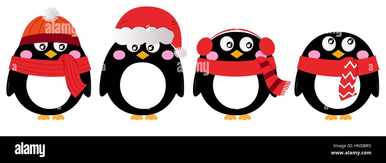 comic pinguin weihnachten setzen kunst kinder abbildung. Black Bedroom Furniture Sets. Home Design Ideas