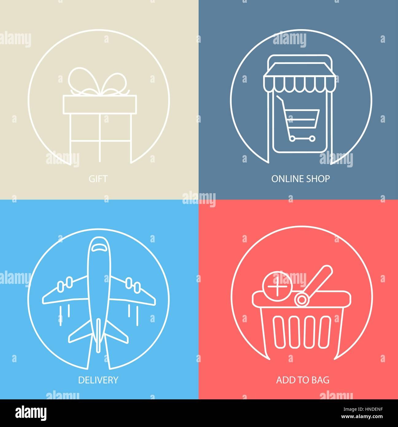 Übersicht e-Commerce Web Icon-Set - Tasche, Geschenk, Lieferung ...