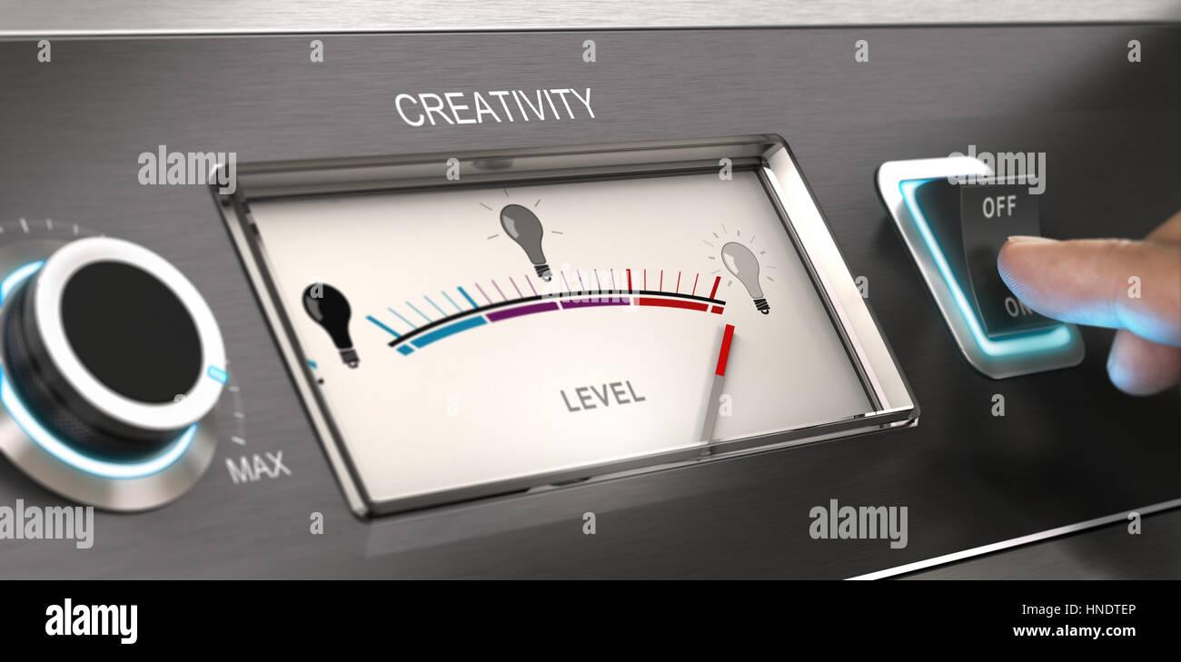 Kreative Mode Konzept. Finger drücken einer Taste mit wählen. Composite zwischen Fotografie und 3D-Hintergrund. Stockbild