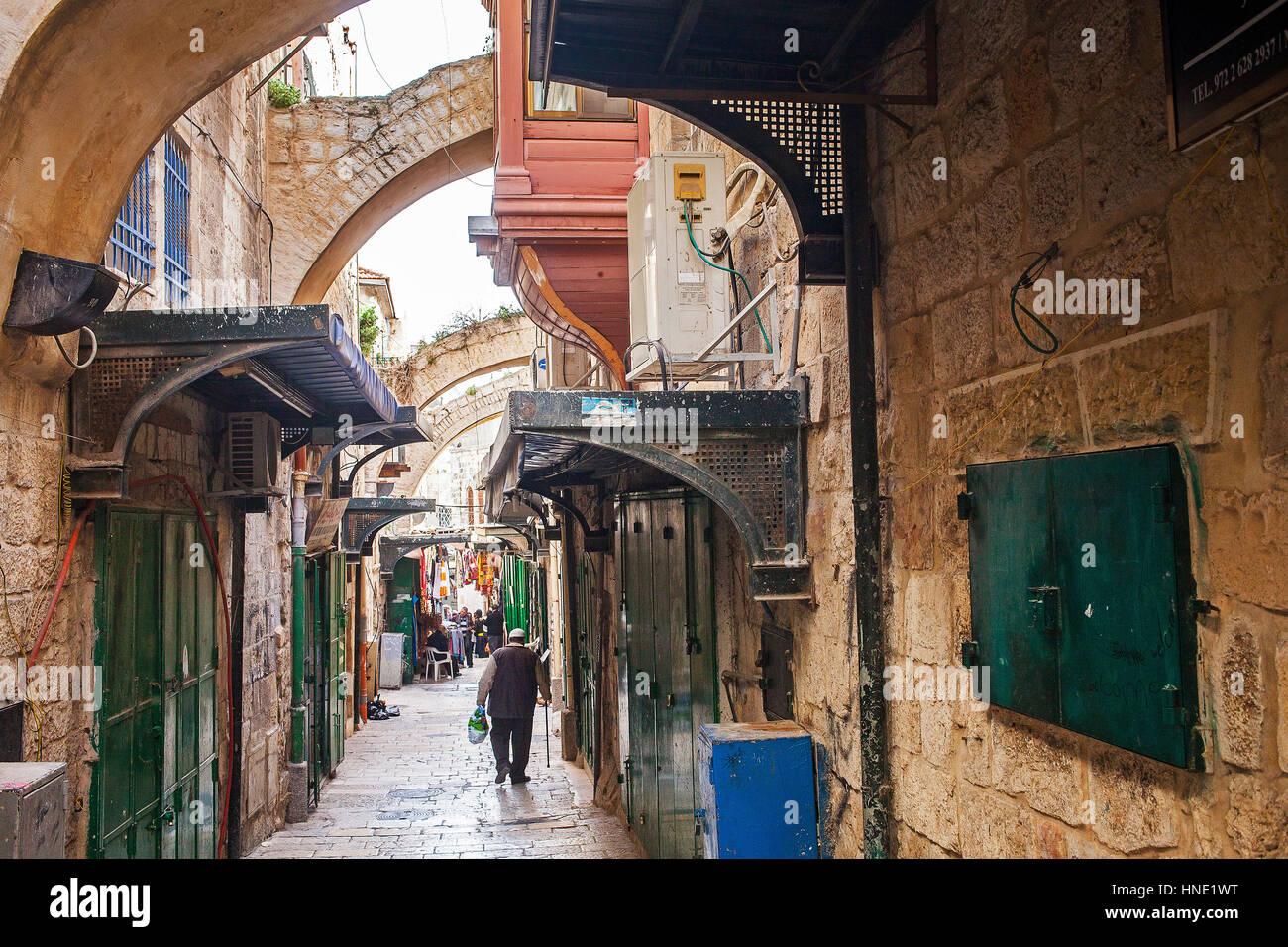 Weg von dem Kreuz, Via Dolorosa-Straße, Altstadt, Jerusalem, Israel. Stockfoto