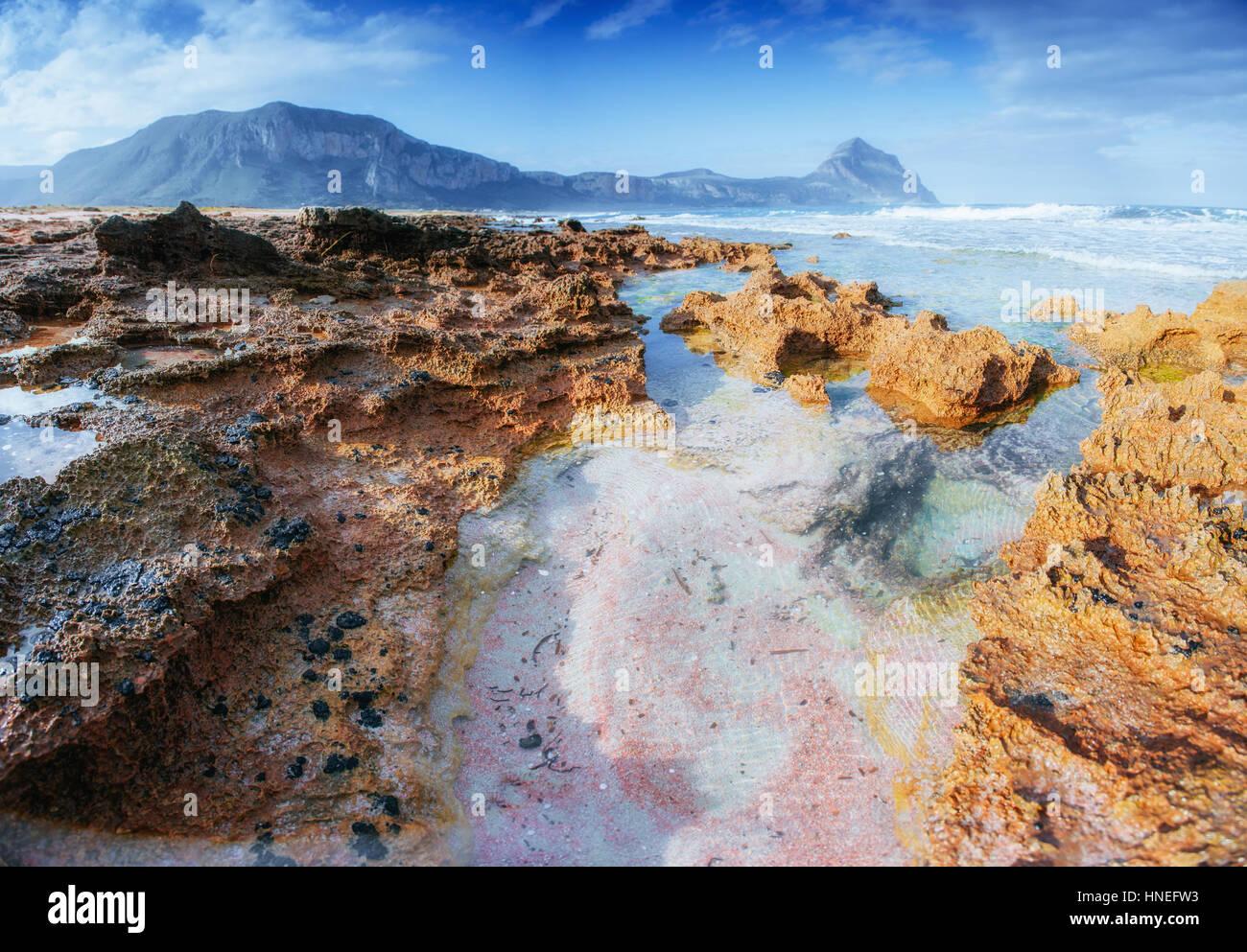 Frühling-Panorama Meer Küste Stadt Trapany. Sizilien, Italien, Europa Stockbild
