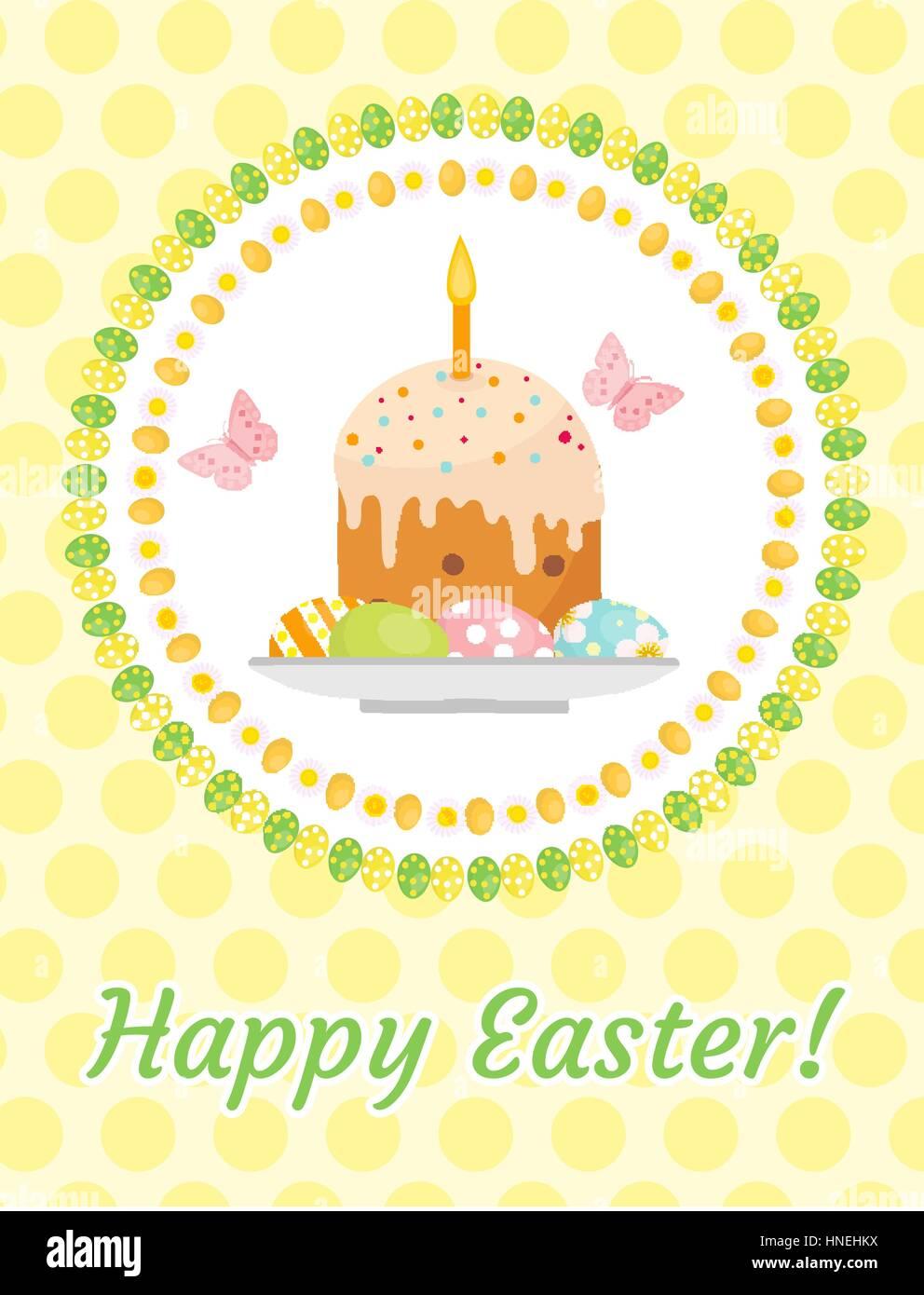 Frohe Ostern Grußkarte Flyer Plakat Mit Osterkuchen Und Eiern