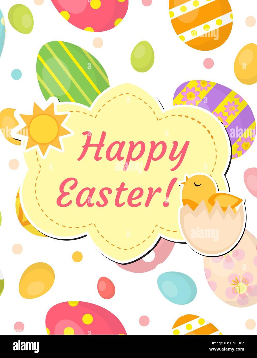 Frohe Ostern Grußkarte, Flyer, Plakat mit gefärbten Eiern und Küken ...