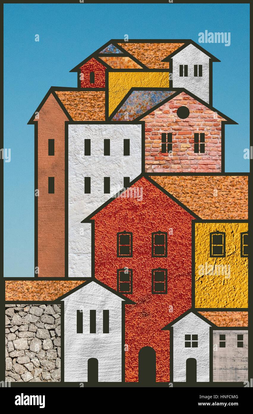 Dorf Gemeinschaft Haus Konzept Abbildung Stockbild