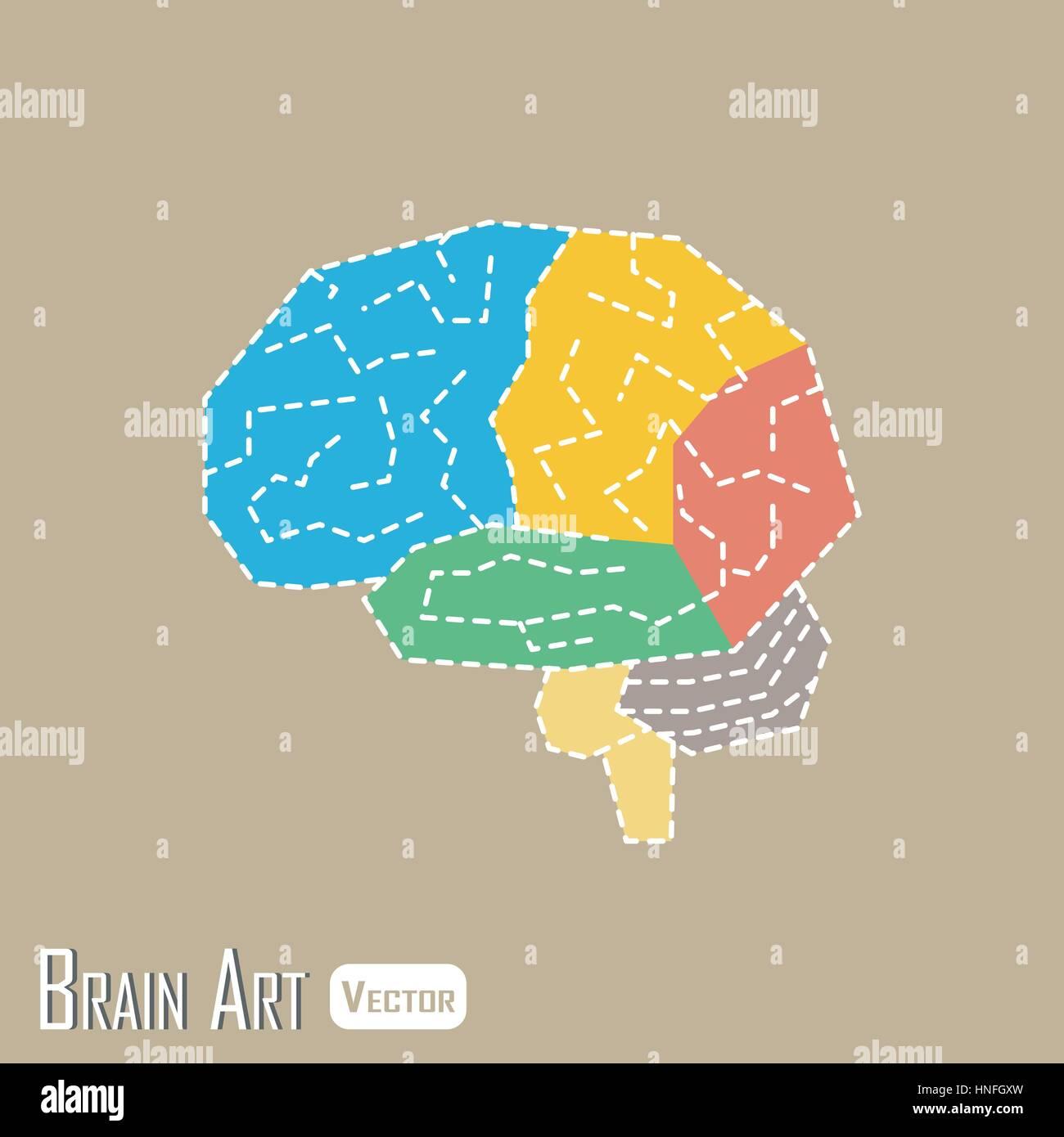 Brain Anatomy Flat Design Frontal Stockfotos & Brain Anatomy Flat ...