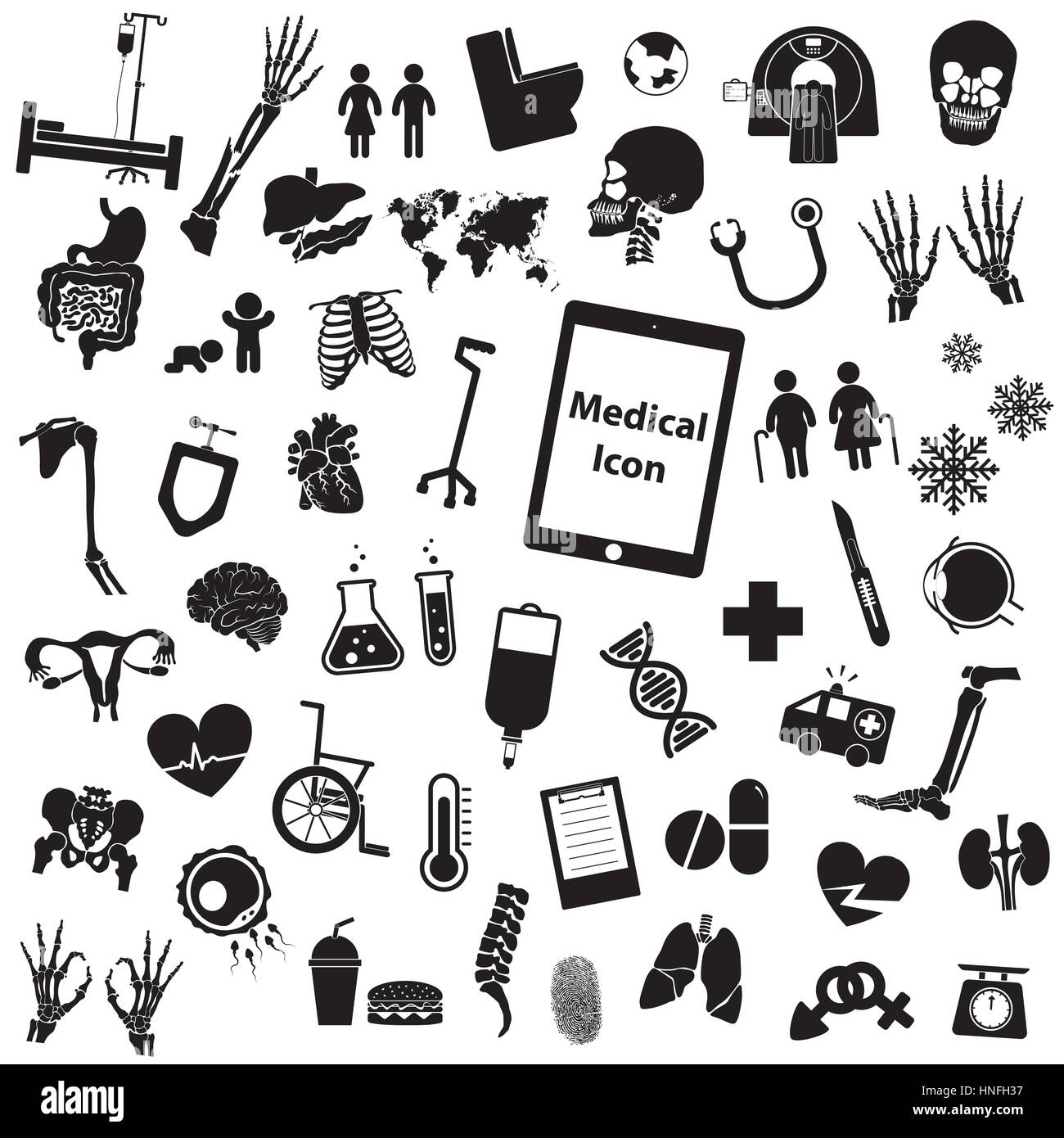 Medizinische Gruppensymbol (Bein, Hand, Reagenzglas, Brust ...