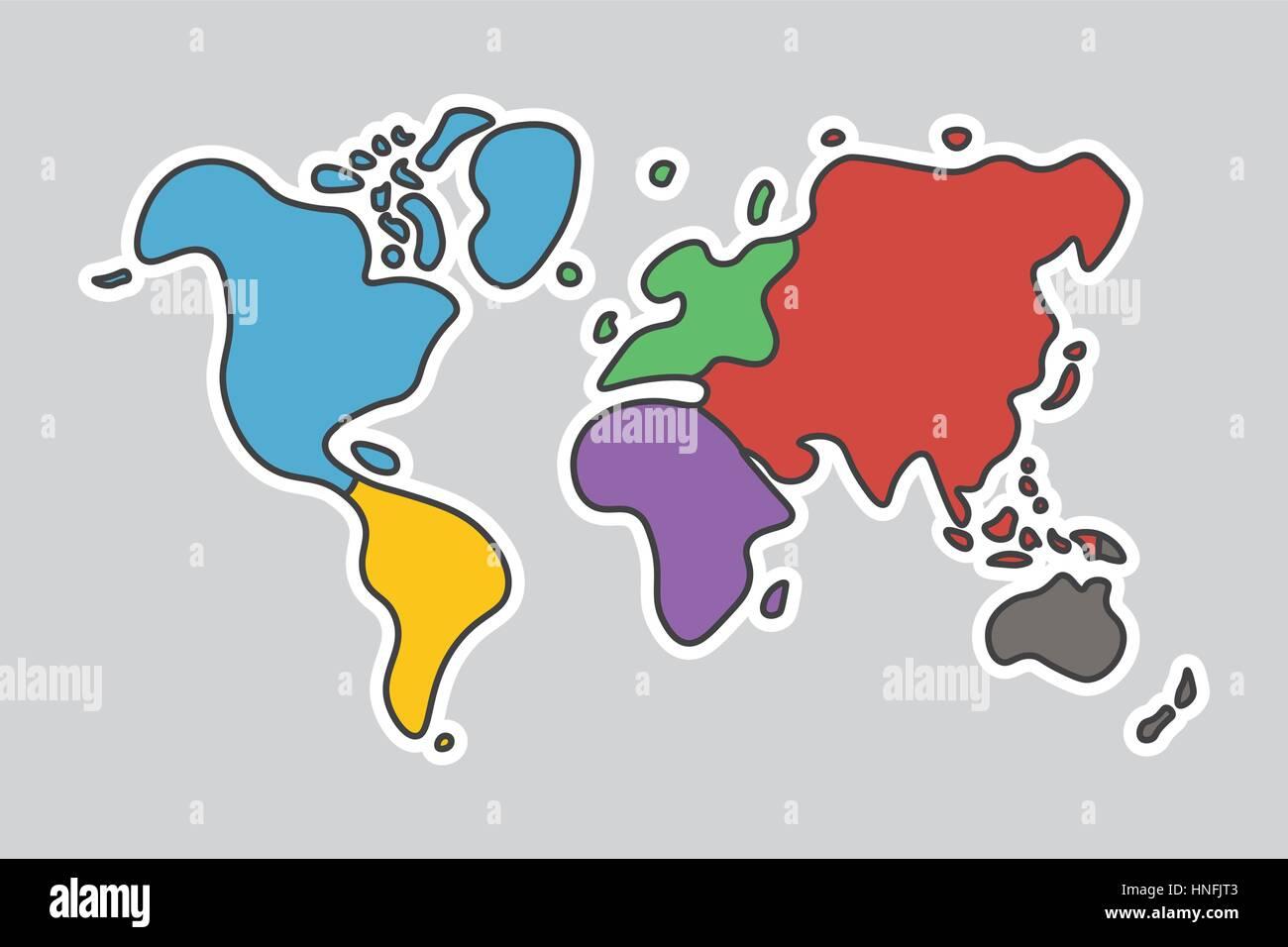 Doodle stil weltkarte sehen sie aus wie kinder malen - Weltkarte basteln ...