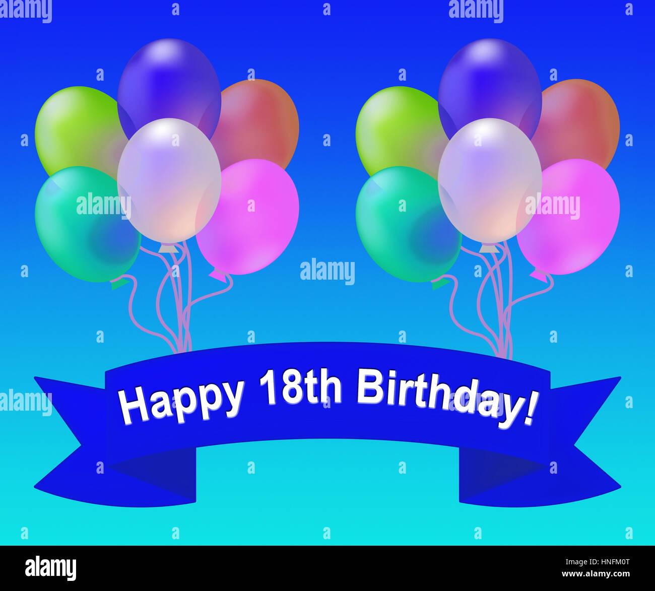 18 Geburtstag Ballons Mittel 18 Party Feier 3d Illustration
