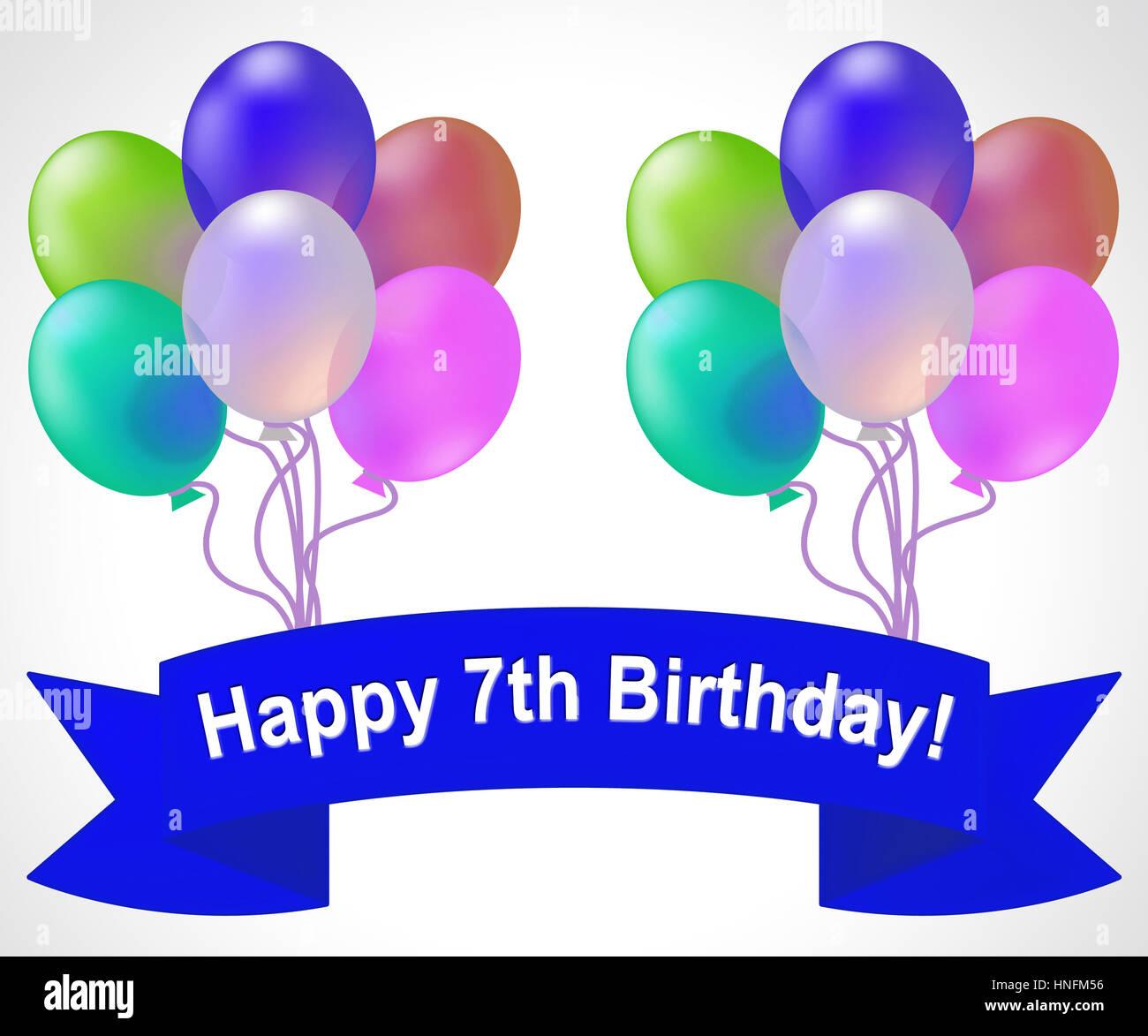 Siebtes Geburtstag Luftballons 7 Party Feier Heisst 3d Illustration Stockbild