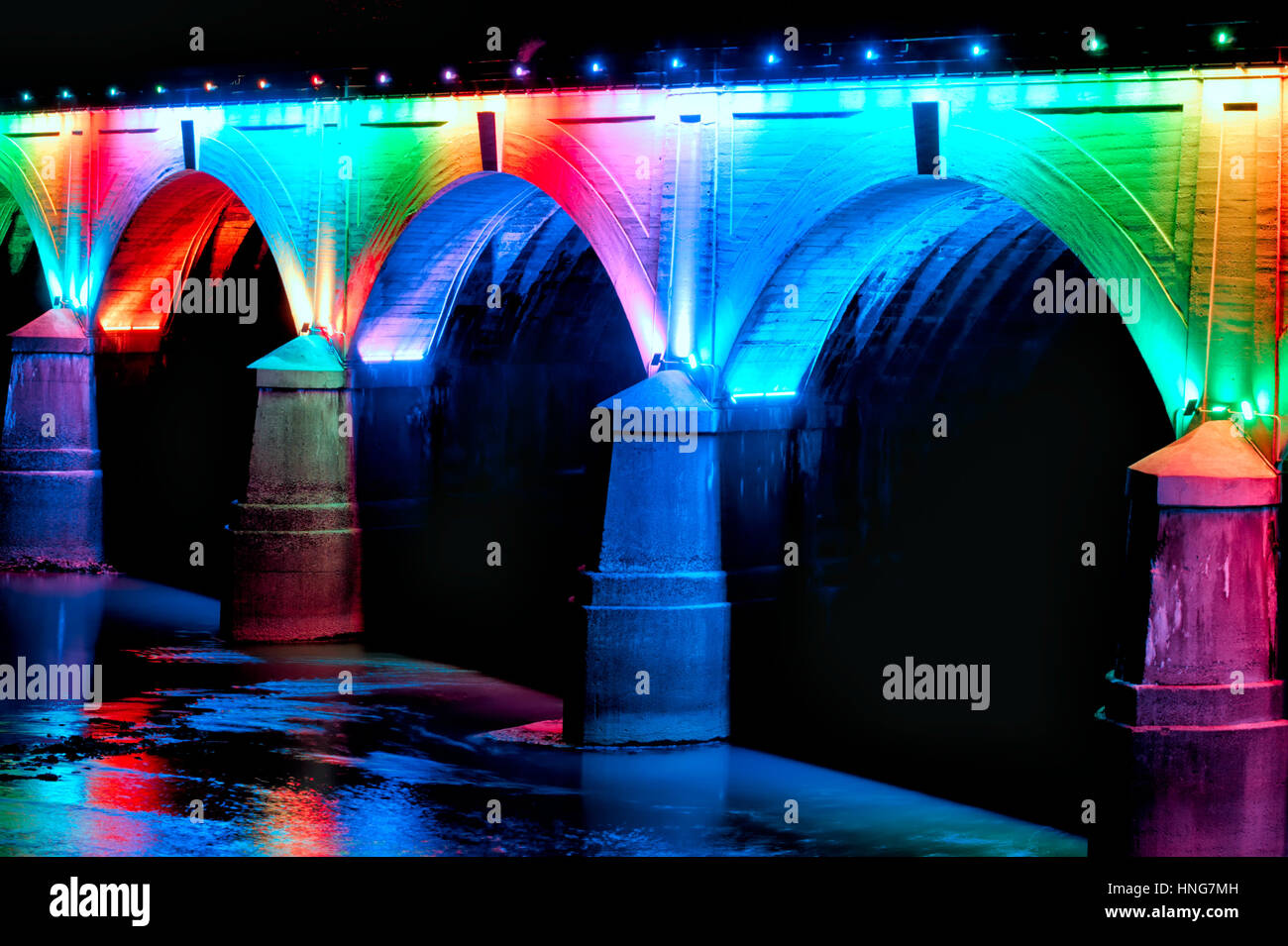 Led Licht Schoenen : Regenbogen brücke beleuchtet und glühende durch farbige led leuchten