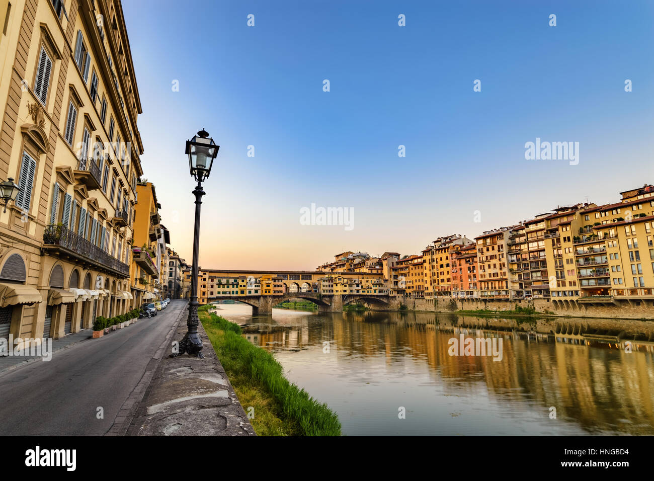 Florenz Stadt Skyline und Ponte Vecchio Brücke, Florenz, Italien Stockbild