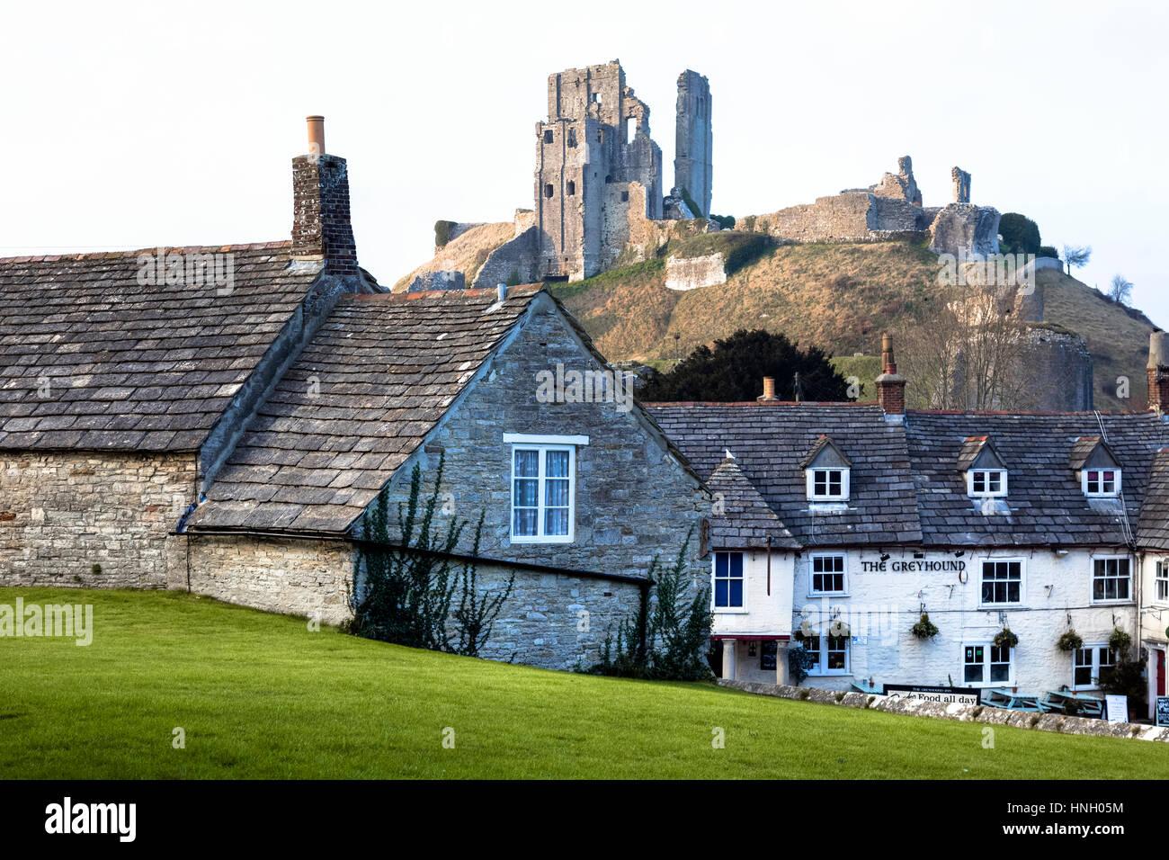 Corfe Castle, Dorset, England, UK Stockbild